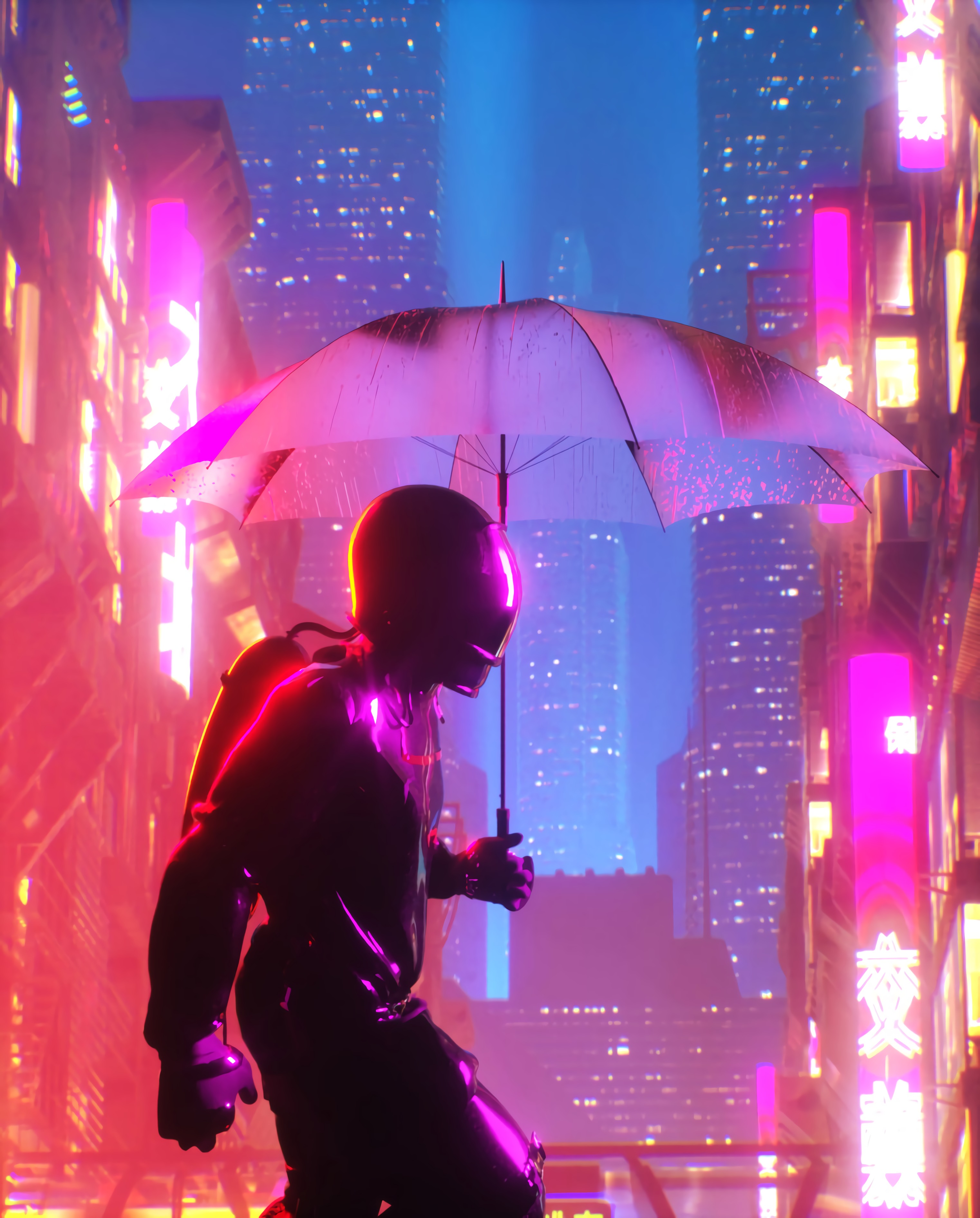 67645 Screensavers and Wallpapers Umbrella for phone. Download Art, City, Building, Cyberpunk, Neon, Glow, Umbrella, Cyborg pictures for free