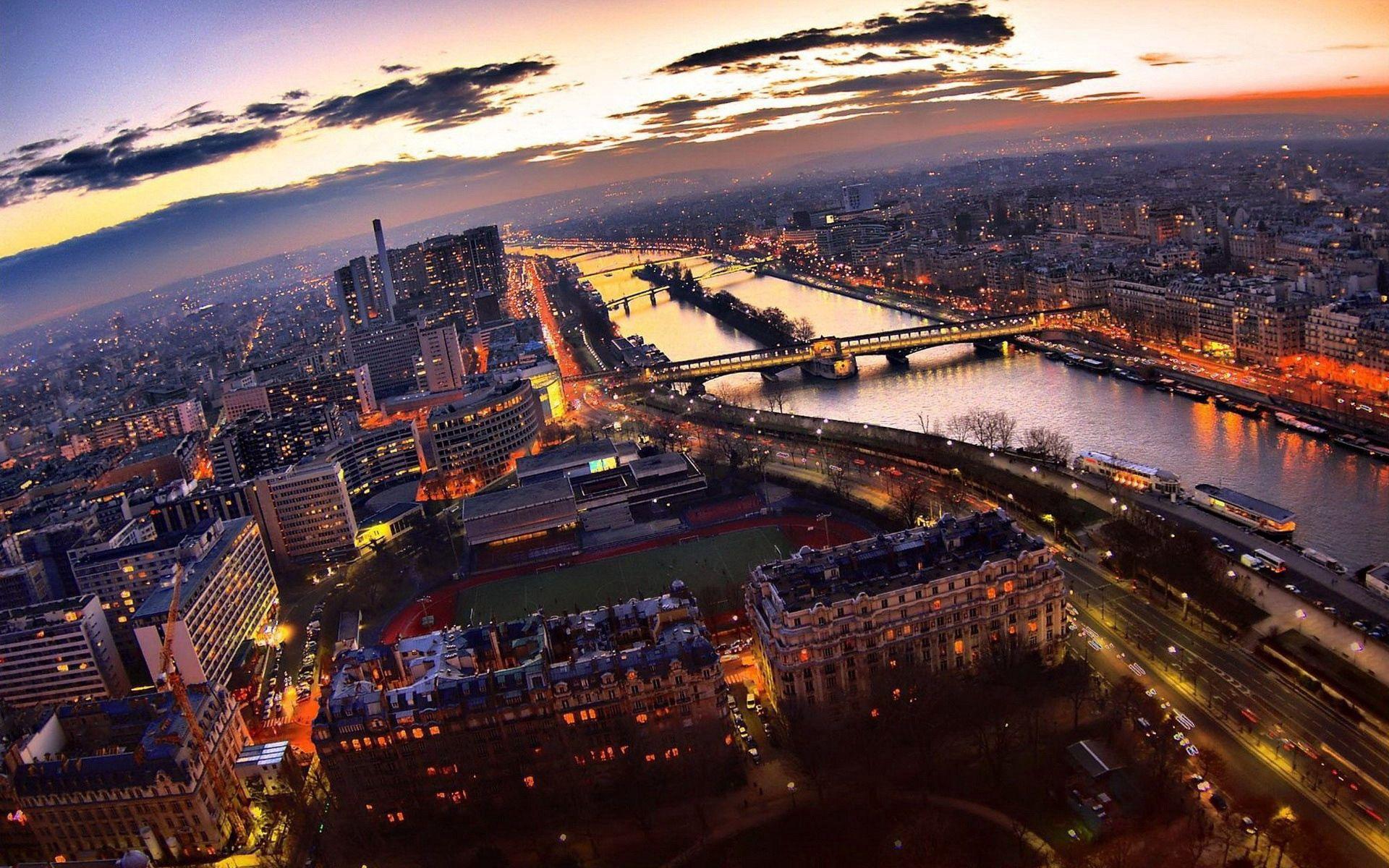 157147壁紙のダウンロードパリ, 高層ビル, 高 層 ビル, ナイト, 輝く, 光, ブリッジ, 橋, 都市-スクリーンセーバーと写真を無料で