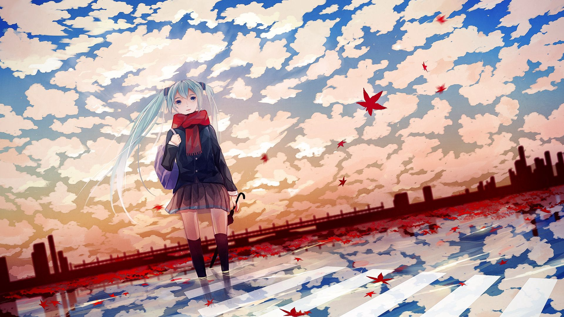 65353 download wallpaper Anime, Girl, Autumn, Sheet, Leaf, Cool, Coolness screensavers and pictures for free