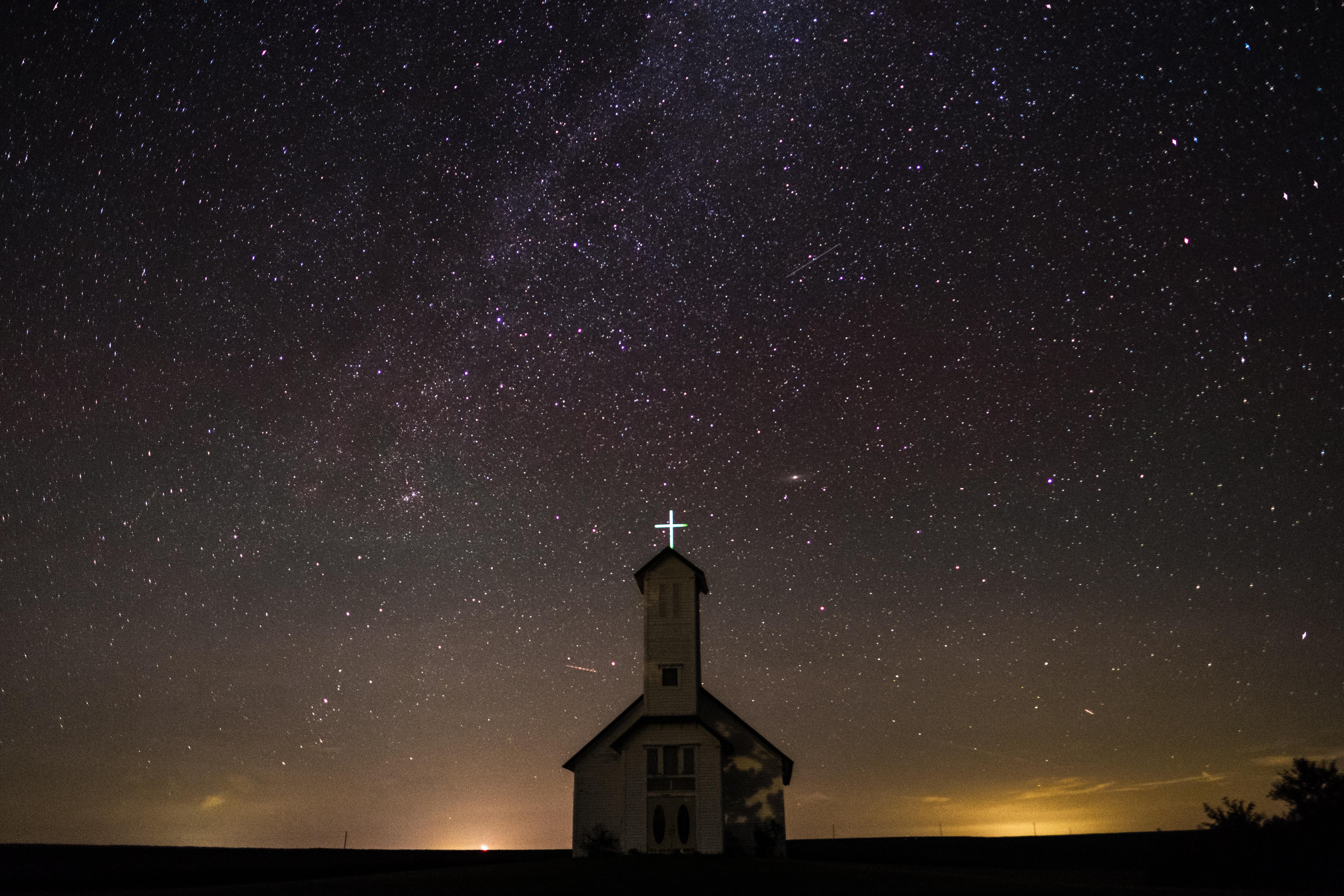 110075 обои 1080x2400 на телефон бесплатно, скачать картинки Церковь, Природа, Ночь, Звездное Небо, Сша, Окленд 1080x2400 на мобильный