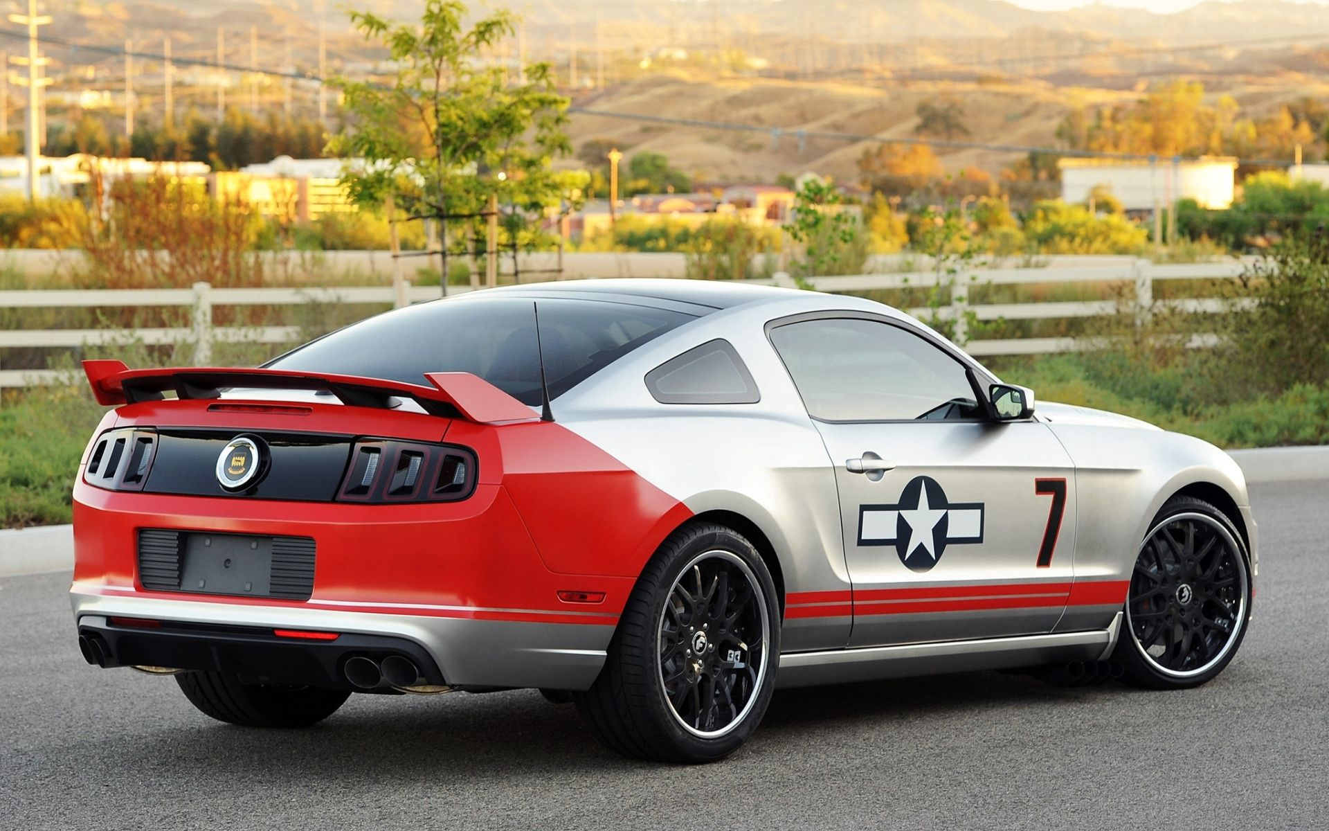 56492 download wallpaper Background, Tuning, Ford, Mustang, Cars, Grey, Back View, Rear View, Gt, Muscle Car, Coupe, Compartment, Red Tails screensavers and pictures for free