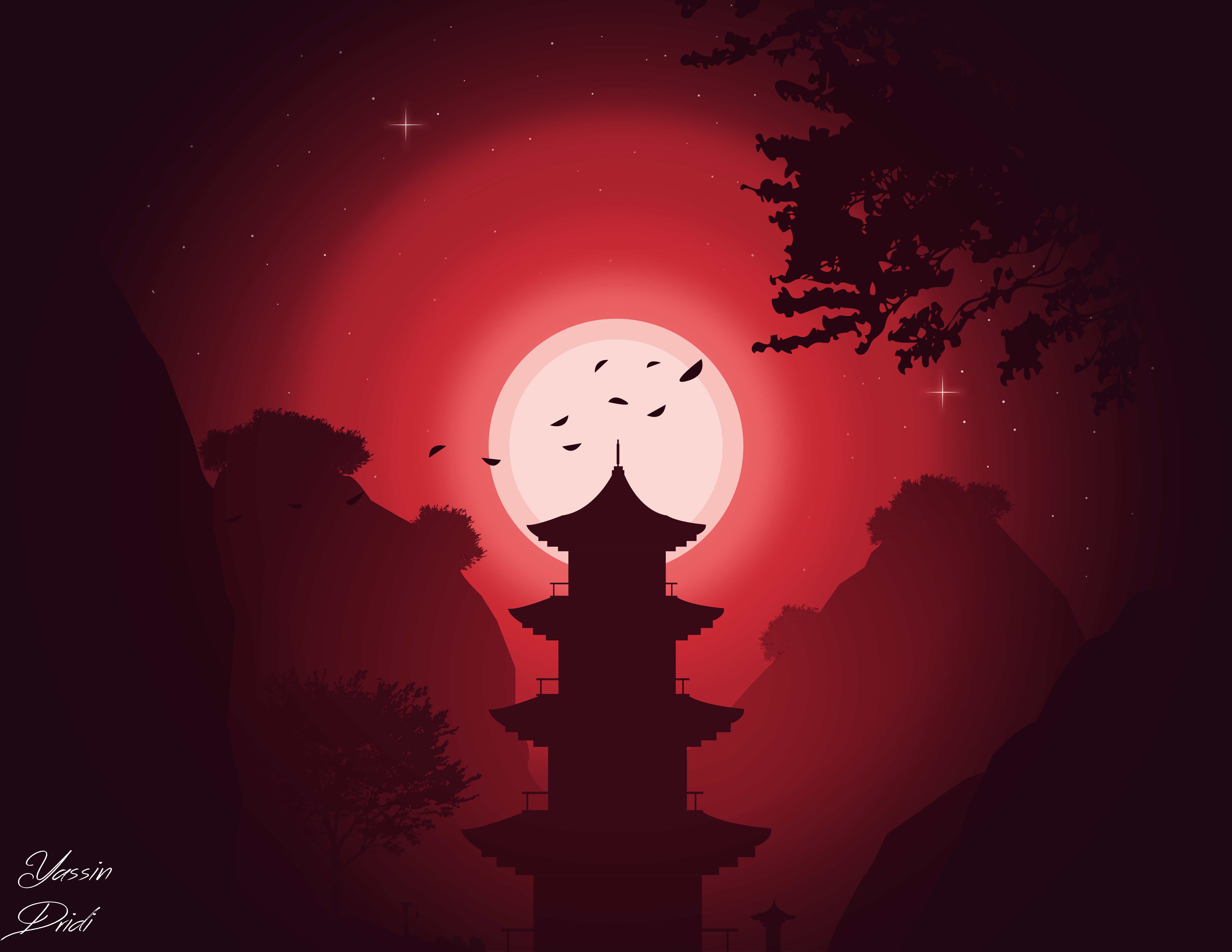 83434 download wallpaper Art, Night, Moon, Vector, Building screensavers and pictures for free