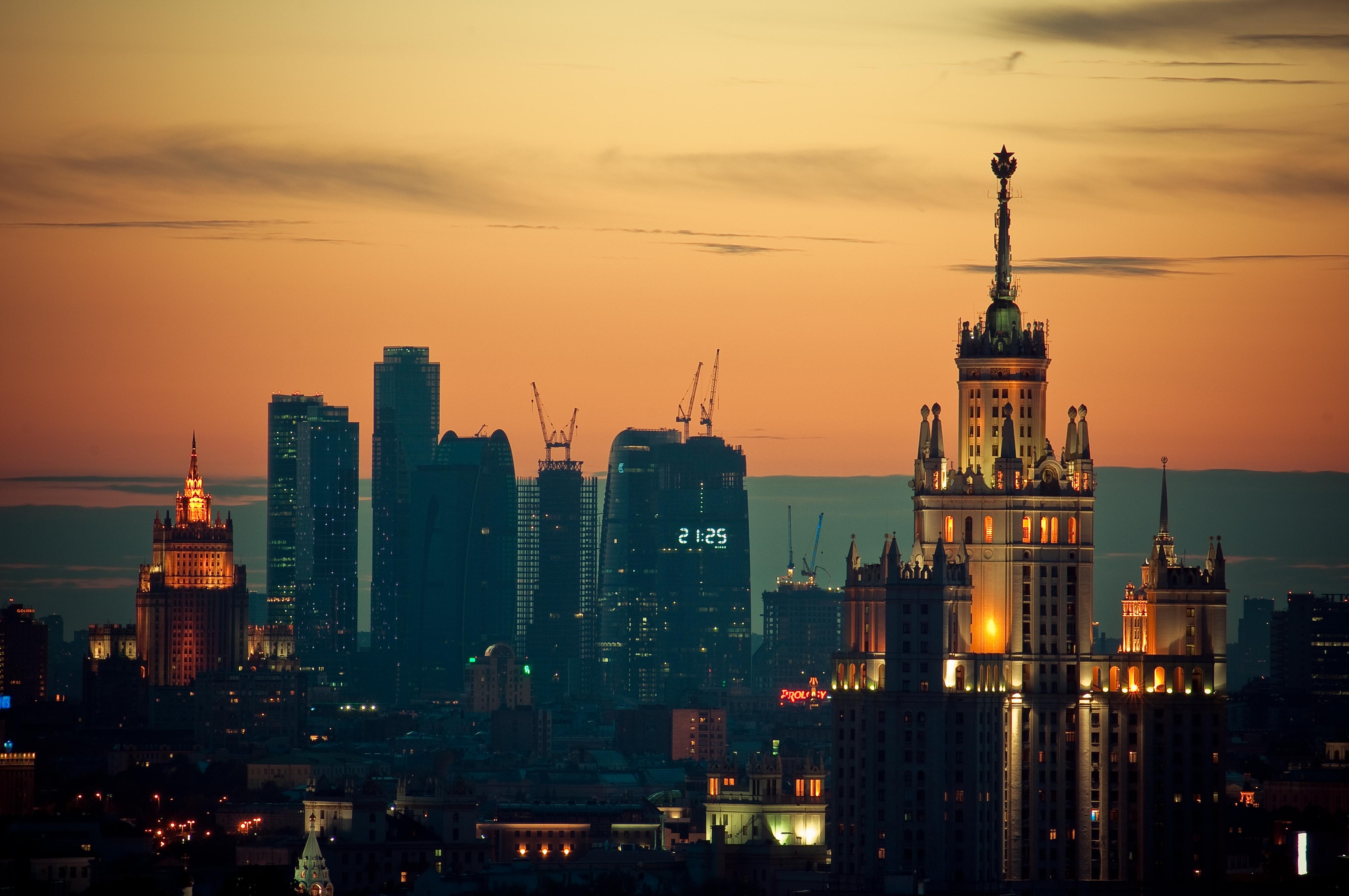 137744 Hintergrundbild 1024x600 kostenlos auf deinem Handy, lade Bilder Städte, Sunset, Moskau, Die Lichter, Lichter 1024x600 auf dein Handy herunter