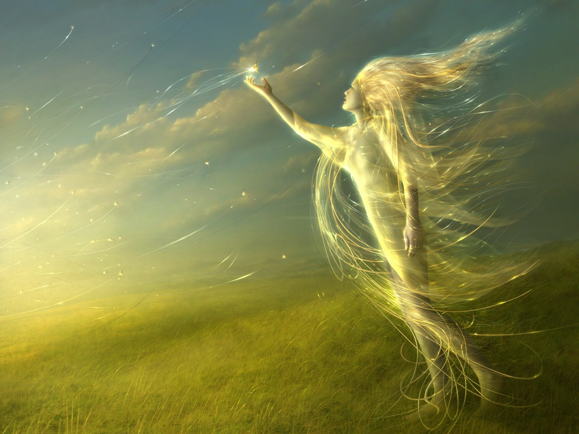 120750 download wallpaper Abstract, Angel, Shine, Light, Field screensavers and pictures for free