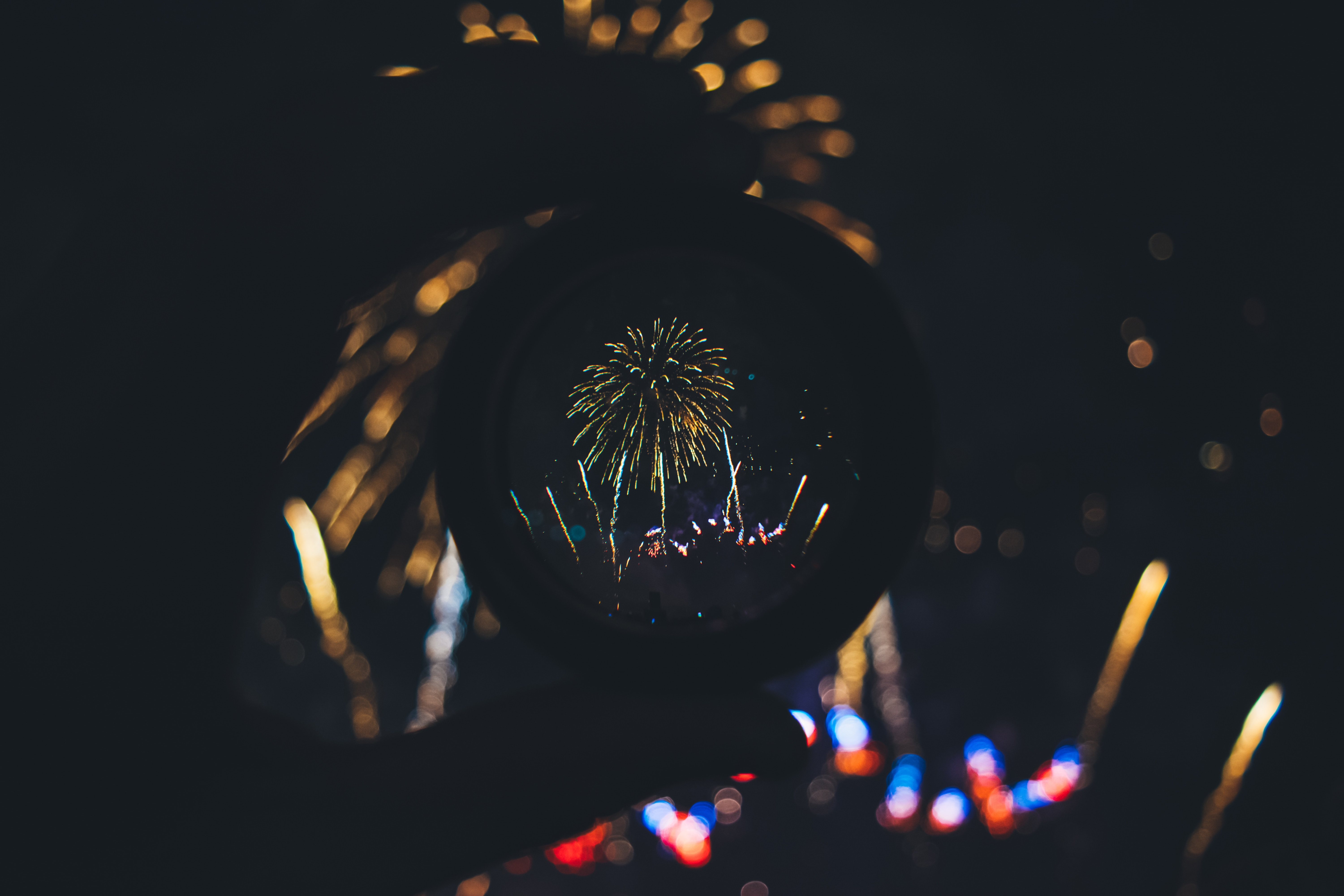 113303 Screensavers and Wallpapers Lens for phone. Download Salute, Dark, Holiday, Lens, Fireworks, Firework pictures for free