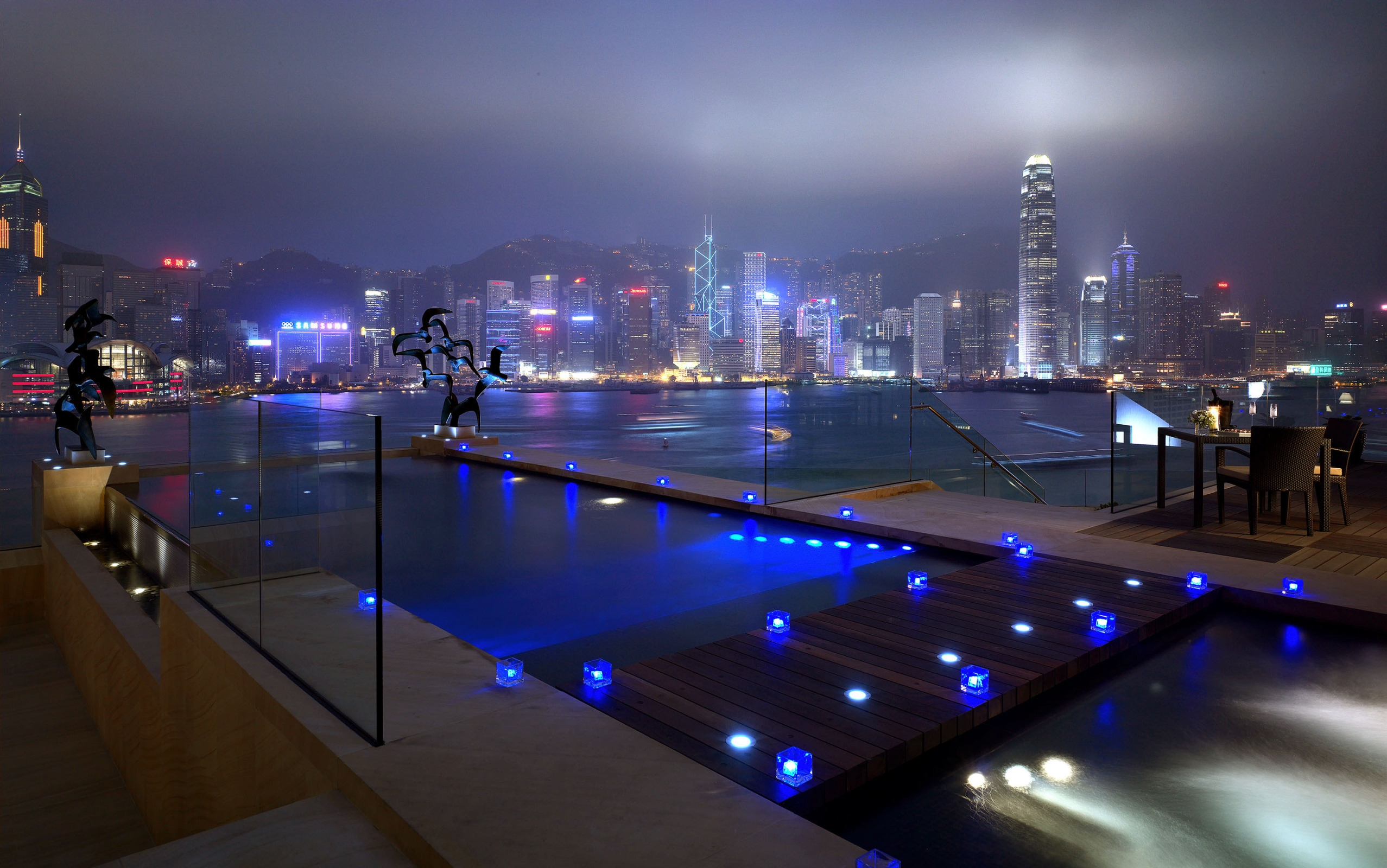 109305 download wallpaper Cities, Houses, Rivers, Windows, Roads, Night, Lights, Shine, Light, Skyscrapers, River, Pool screensavers and pictures for free