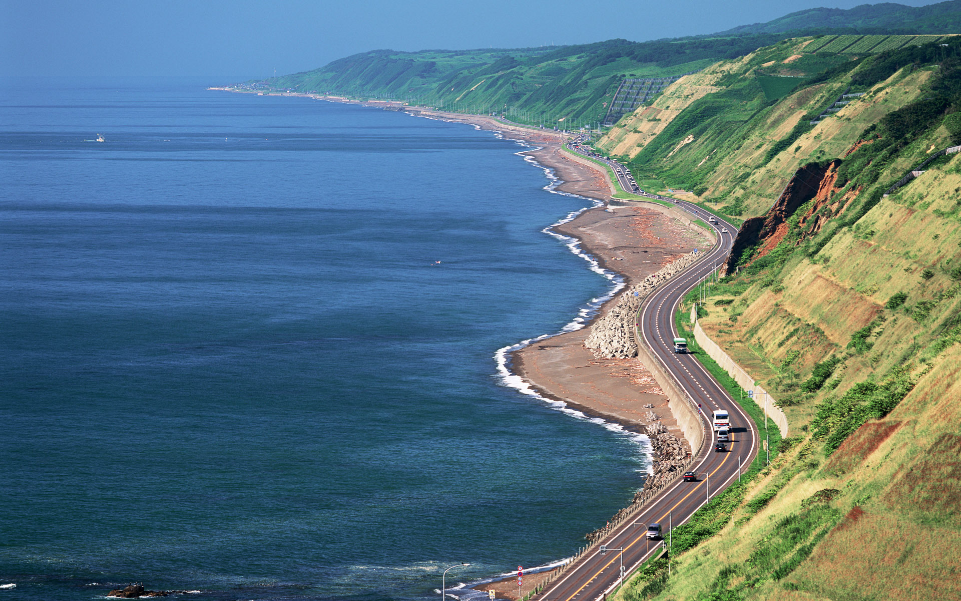Download mobile wallpaper Sea, Roads, Mountains, Landscape for free.