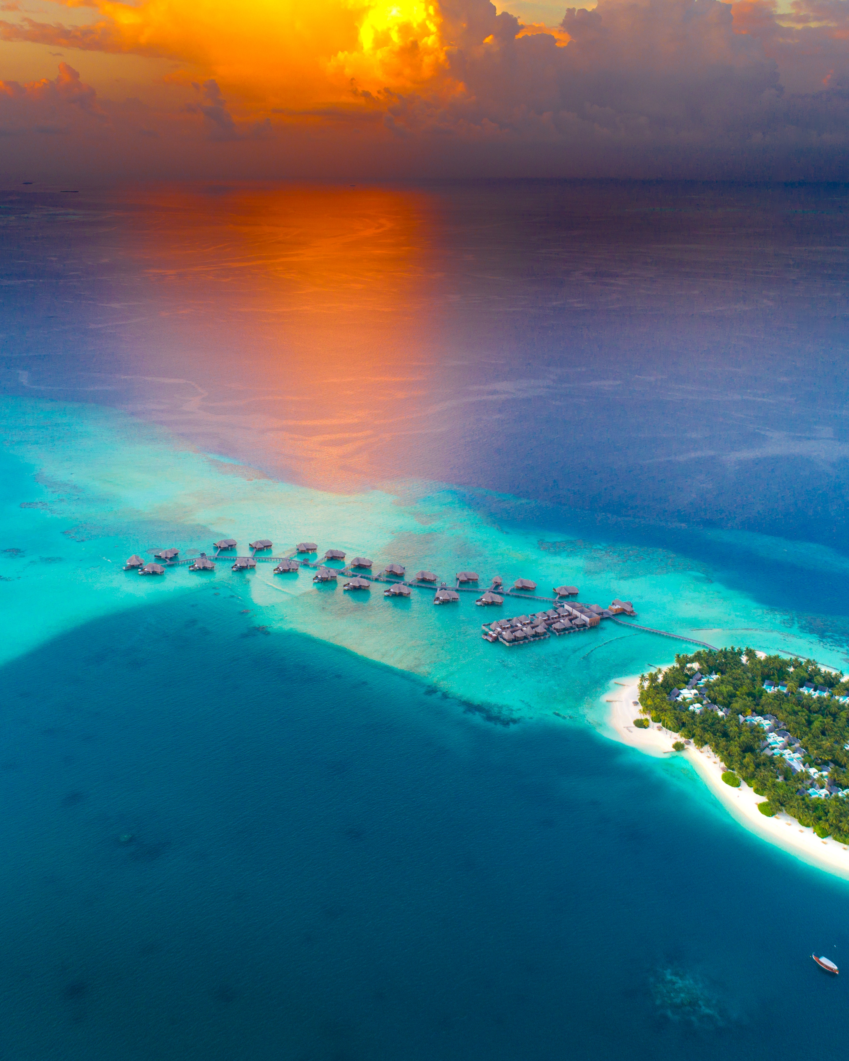 137674 Screensavers and Wallpapers Island for phone. Download Nature, Beach, View From Above, Horizon, Ocean, Island, Bungalow pictures for free