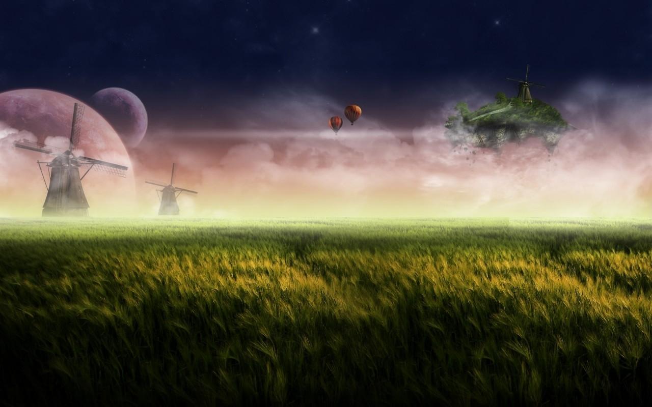 1215 скачать обои Пейзаж, Трава, Поля, Небо, Арт - заставки и картинки бесплатно