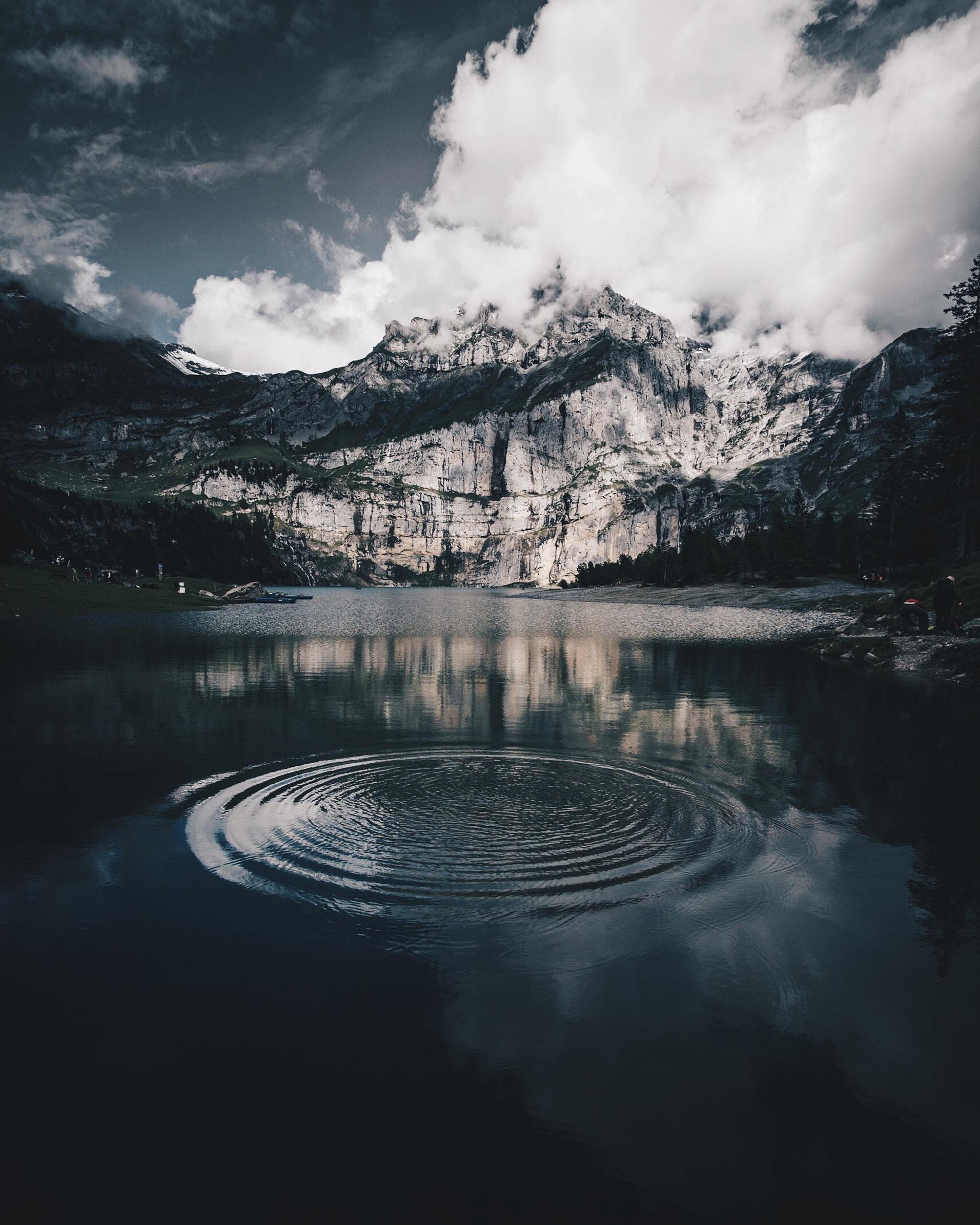79900 скачать обои Швейцария, Природа, Вода, Горы, Озеро, Эшинензе, Кандерштег - заставки и картинки бесплатно