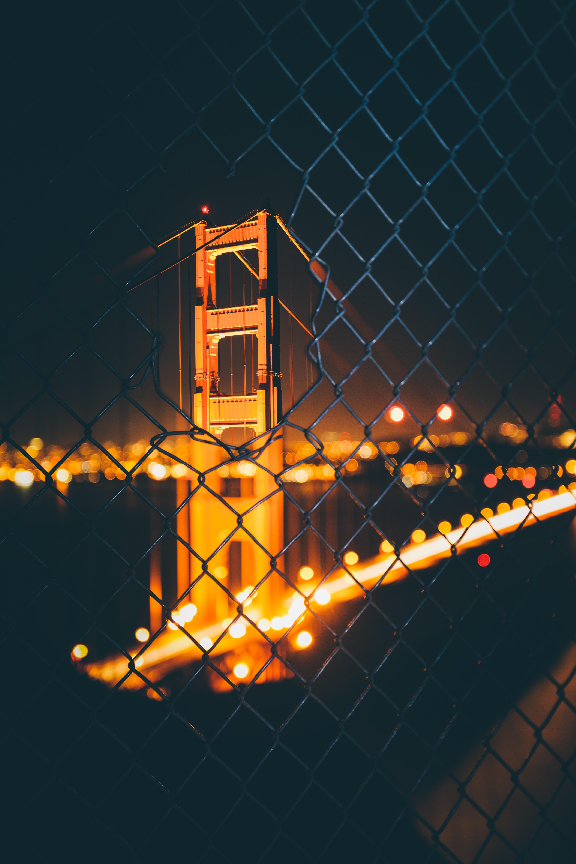 112694 télécharger le fond d'écran Pont, Nuit, Clôture, Grille, Flou, Lisse, Bokeh, Boquet, Éblouissement, Éclat, Villes - économiseurs d'écran et images gratuitement