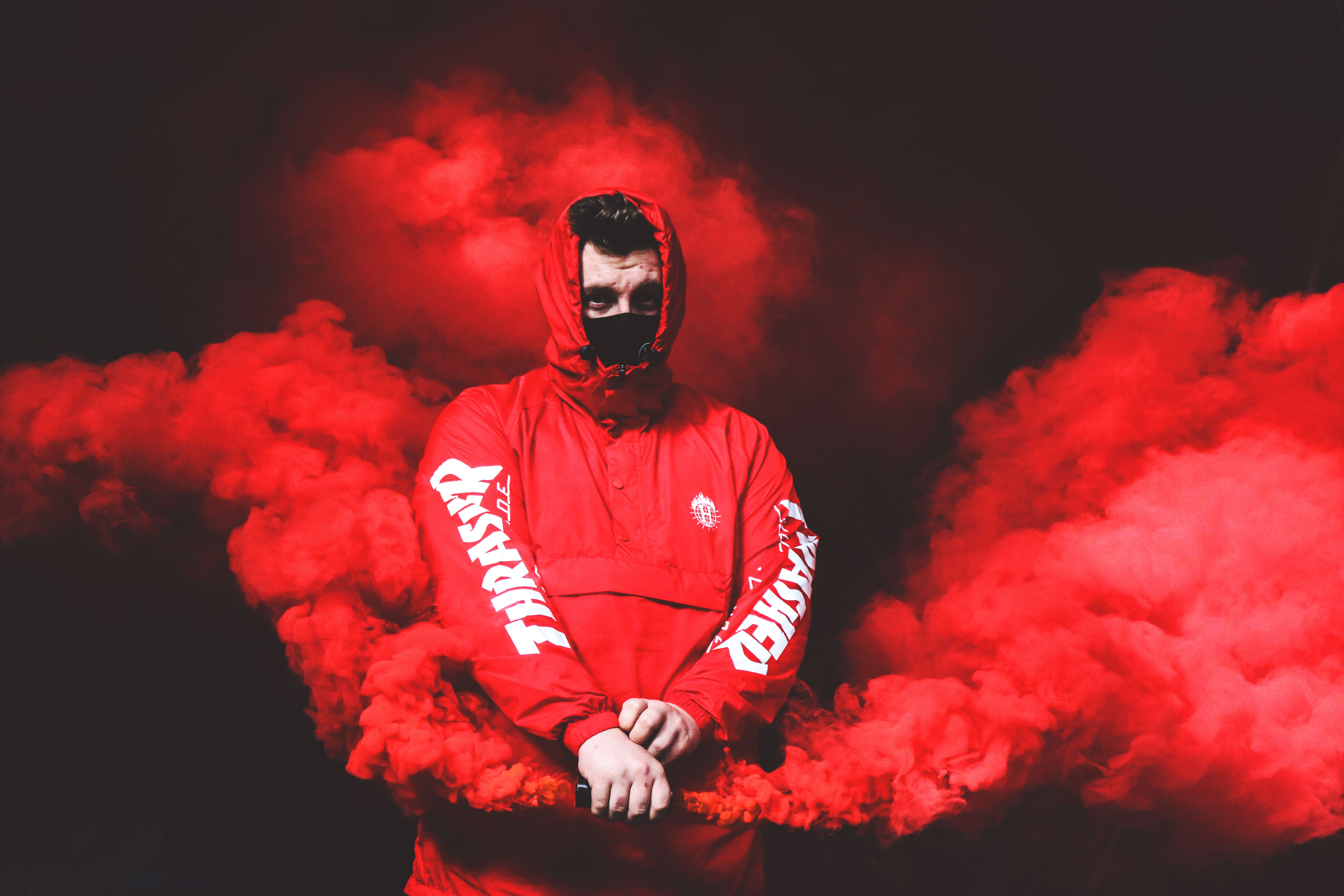 99383 download wallpaper Miscellanea, Miscellaneous, Human, Person, Mask, Hood, Smoke screensavers and pictures for free