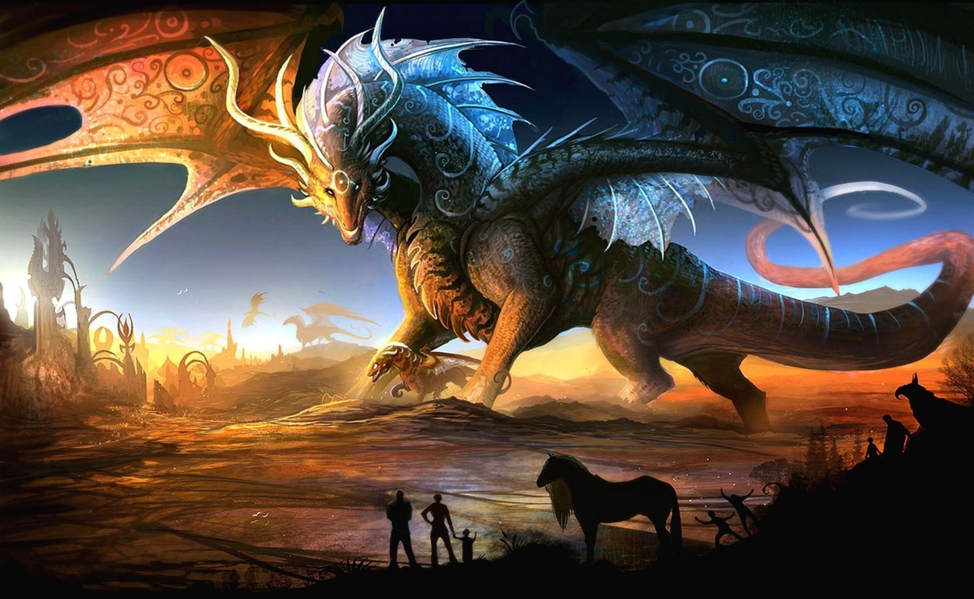 73218 descargar fondo de pantalla Fantasía, Mamá, Madre, Joven, Joey, Personas, Puesta Del Sol, Dragones, Animales: protectores de pantalla e imágenes gratis
