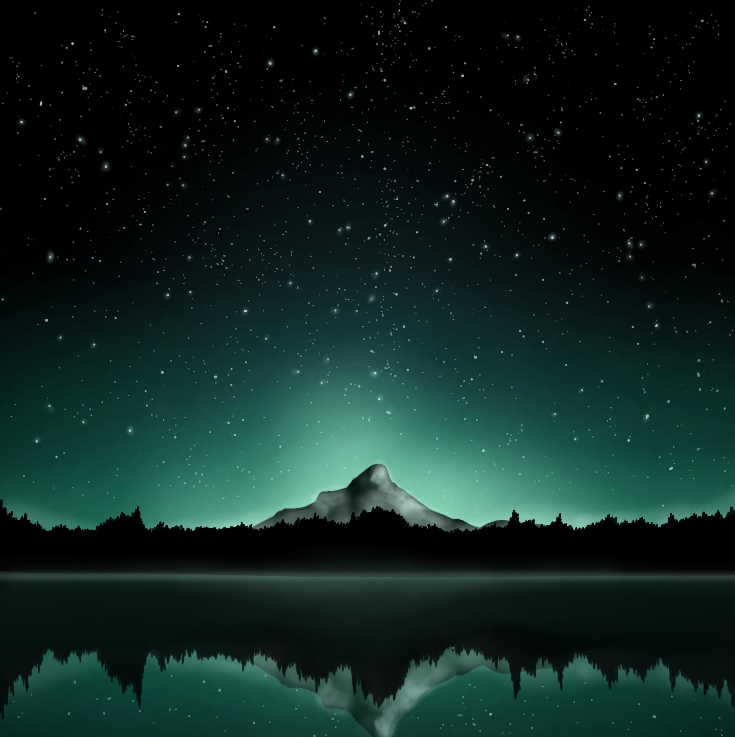 55310 скачать обои Звезды, Арт, Гора, Звездное Небо - заставки и картинки бесплатно