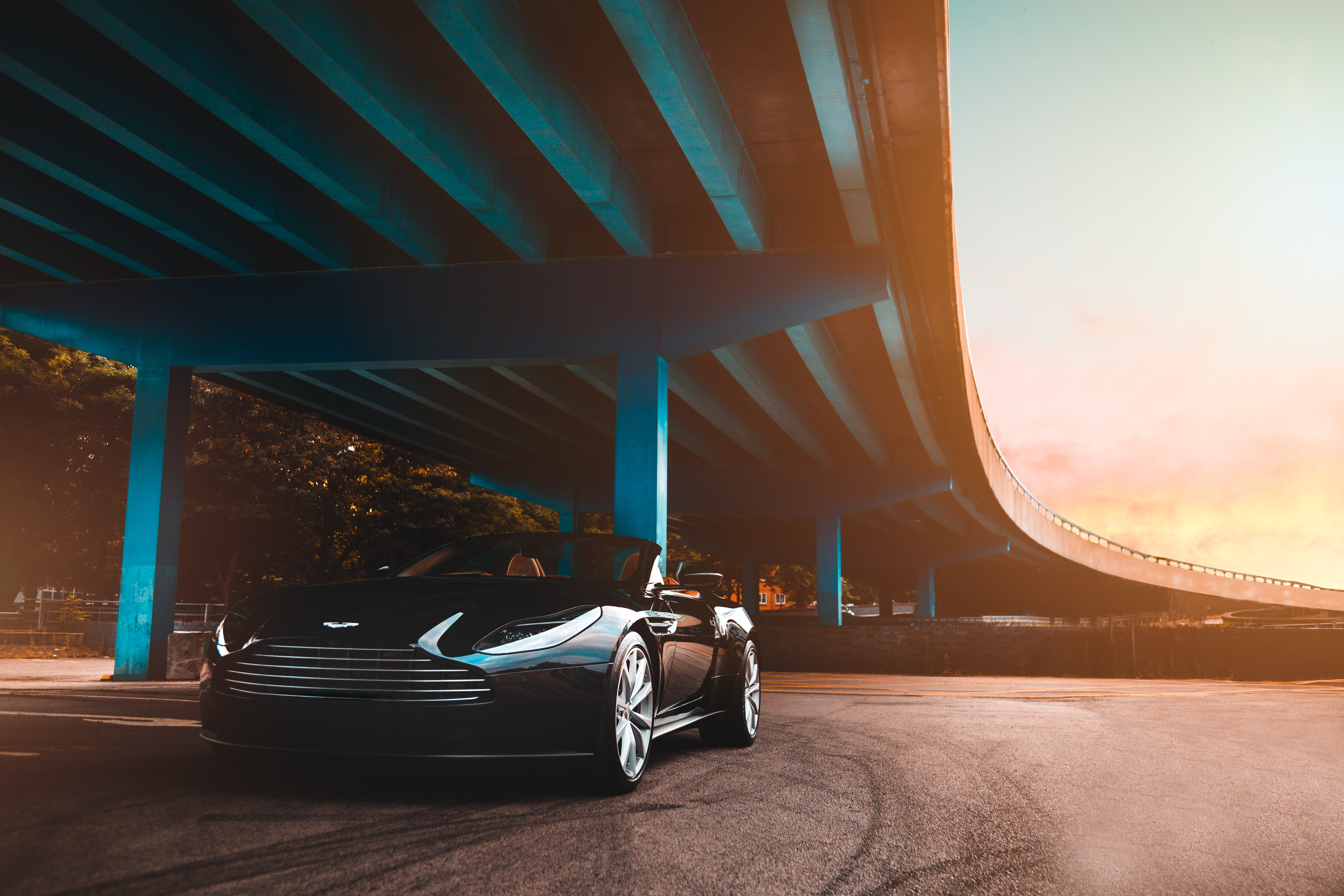 143556 download wallpaper Aston Martin, Cars, Car, Bridge, Luxurious screensavers and pictures for free