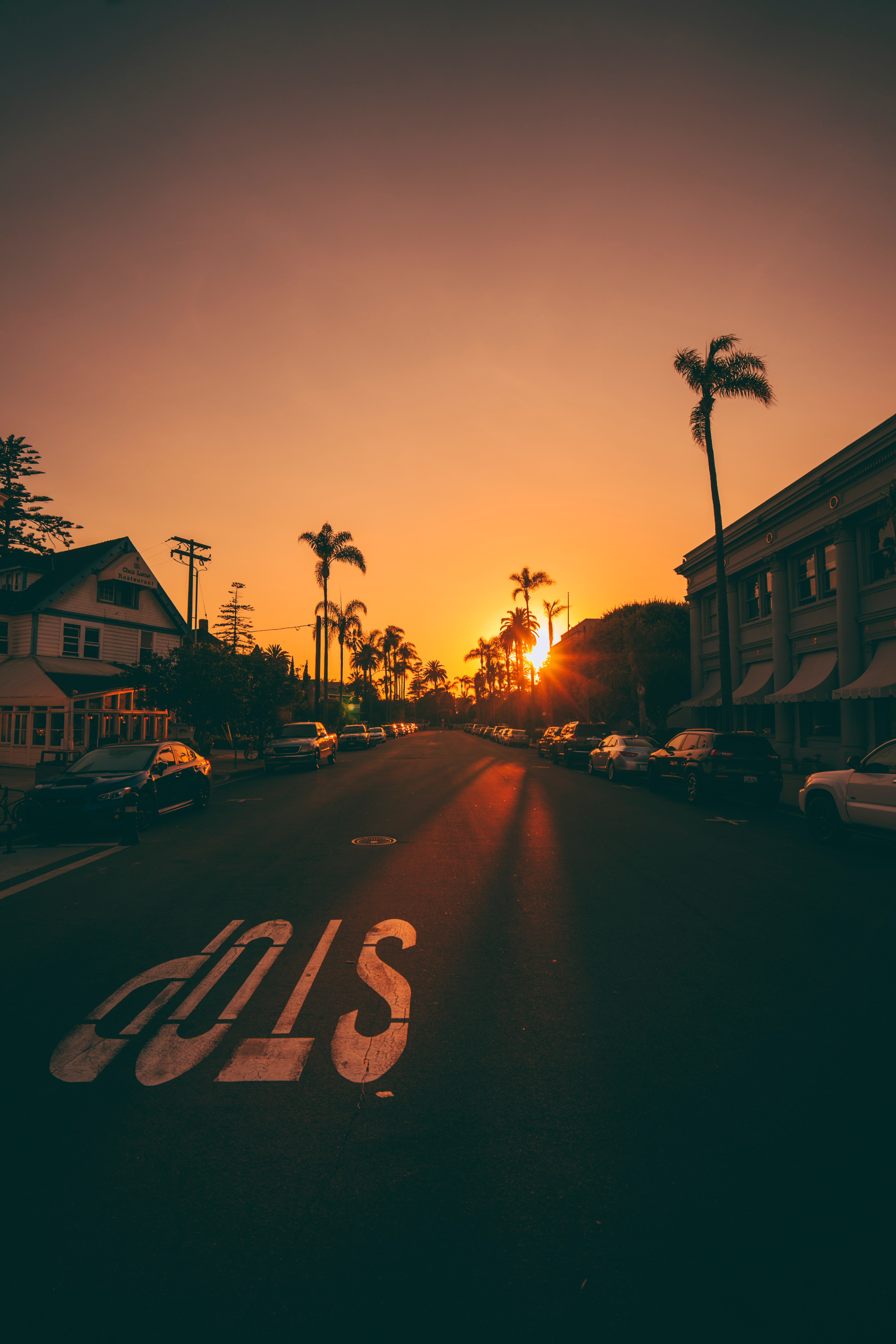 143015 Screensavers and Wallpapers Cities for phone. Download Sunset, Cities, Road, Palms, Cars, Markup, Street pictures for free