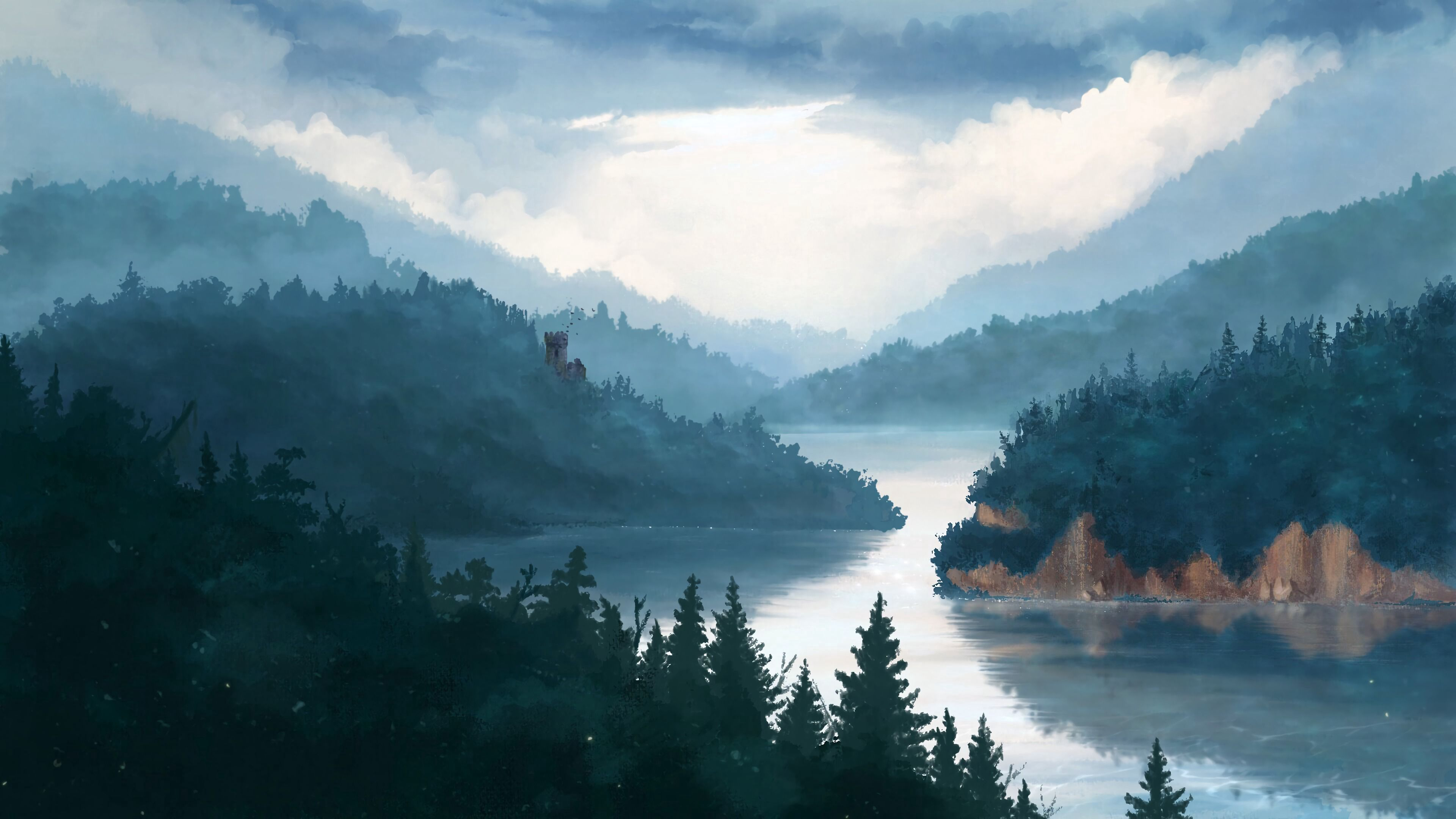 143541 Screensavers and Wallpapers Lock for phone. Download Art, Lock, Forest, Fog pictures for free