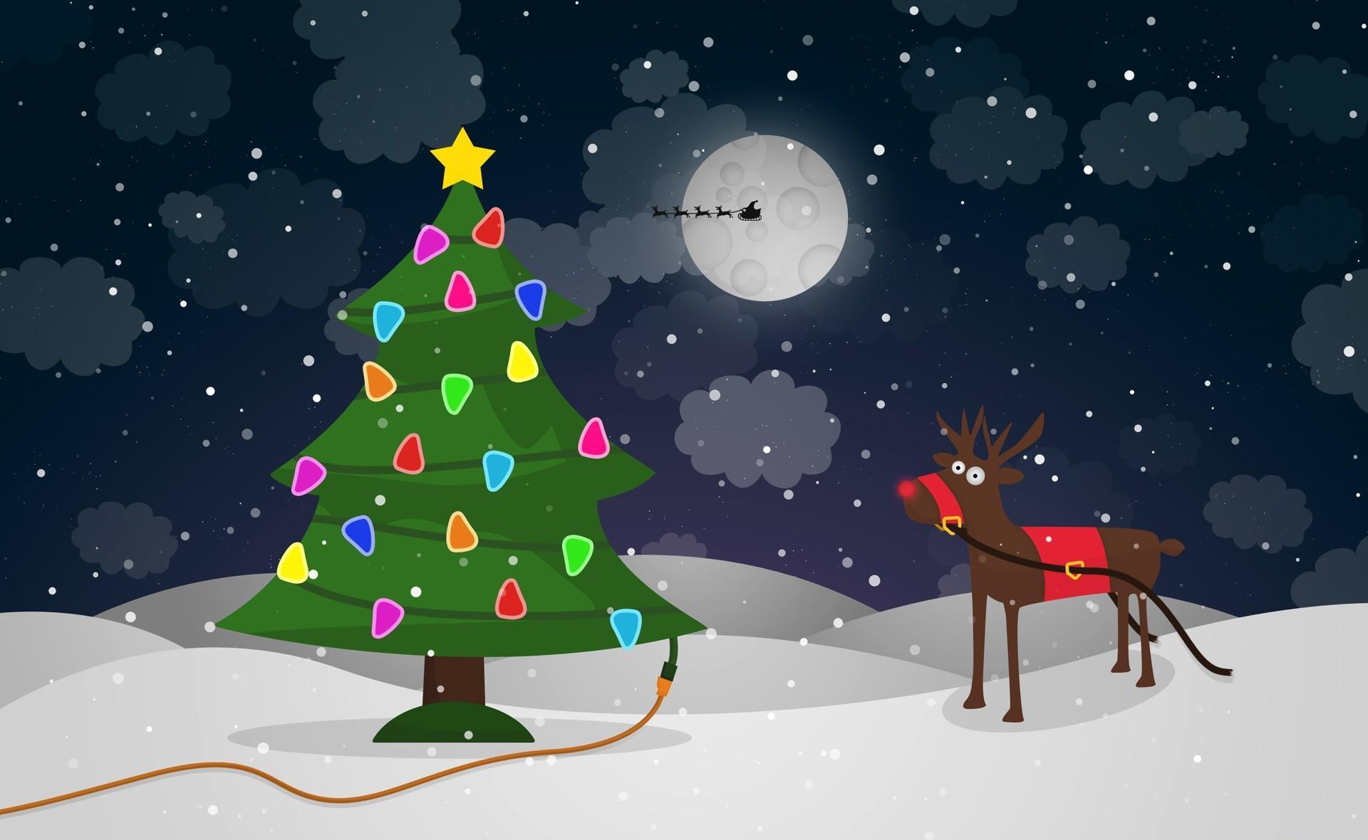 104940 descargar fondo de pantalla Vacaciones, Árbol De Navidad, Guirnaldas, Guirnalda, El Alambre, Alambre, Ciervo, Navidad, Luna, Papá Noel, Trineo, Vuelo: protectores de pantalla e imágenes gratis