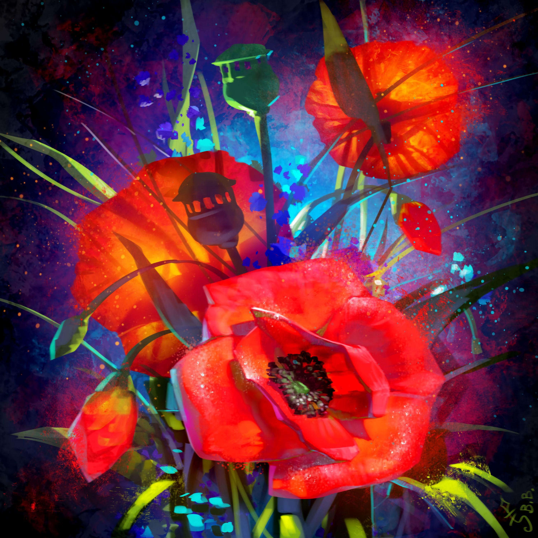 133591 скачать обои Маки, Арт, Букет, Красный, Цветы - заставки и картинки бесплатно