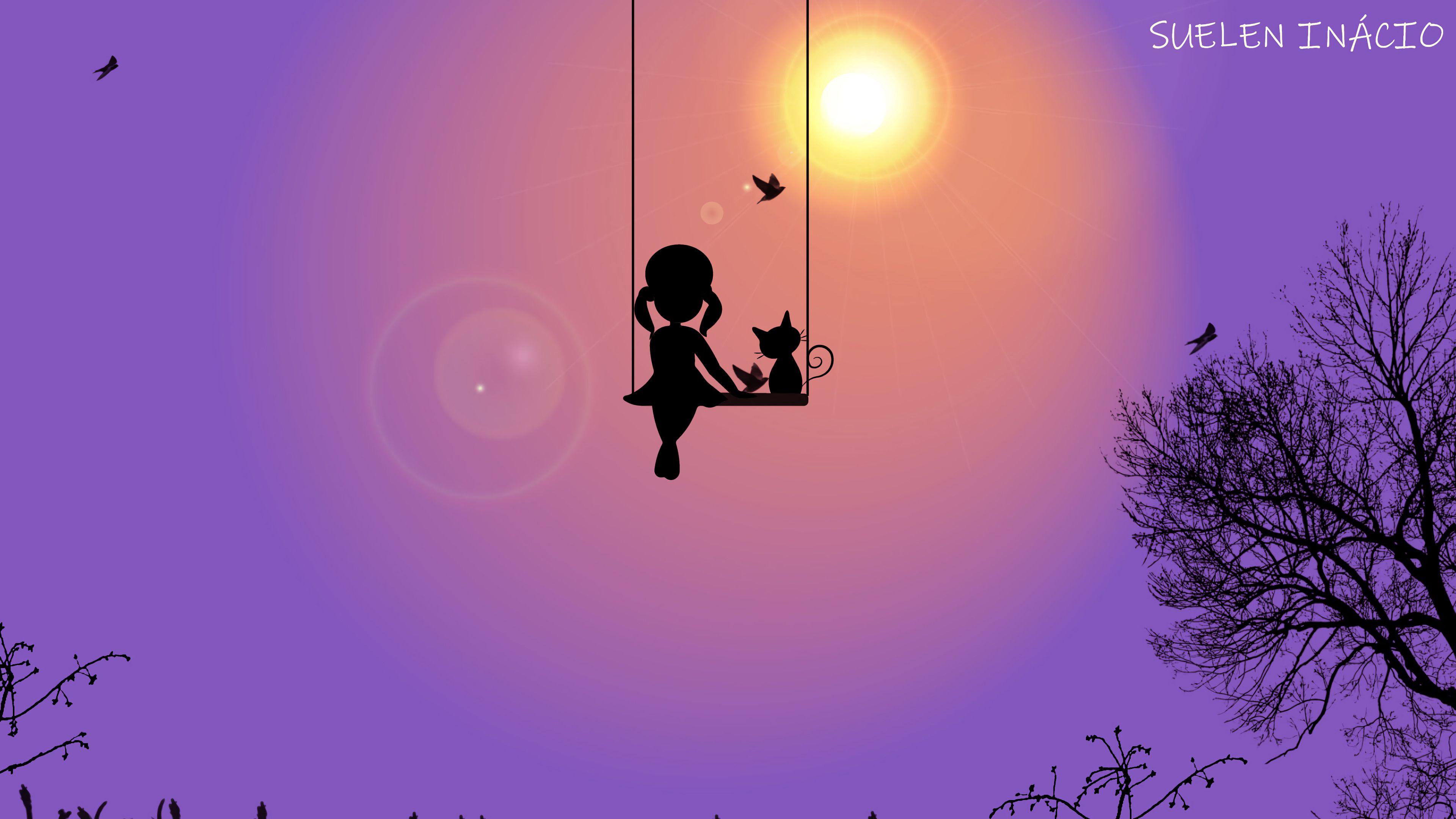 94977 скачать обои Девочка, Качели, Кот, Силуэт, Арт, Солнце, Птицы - заставки и картинки бесплатно