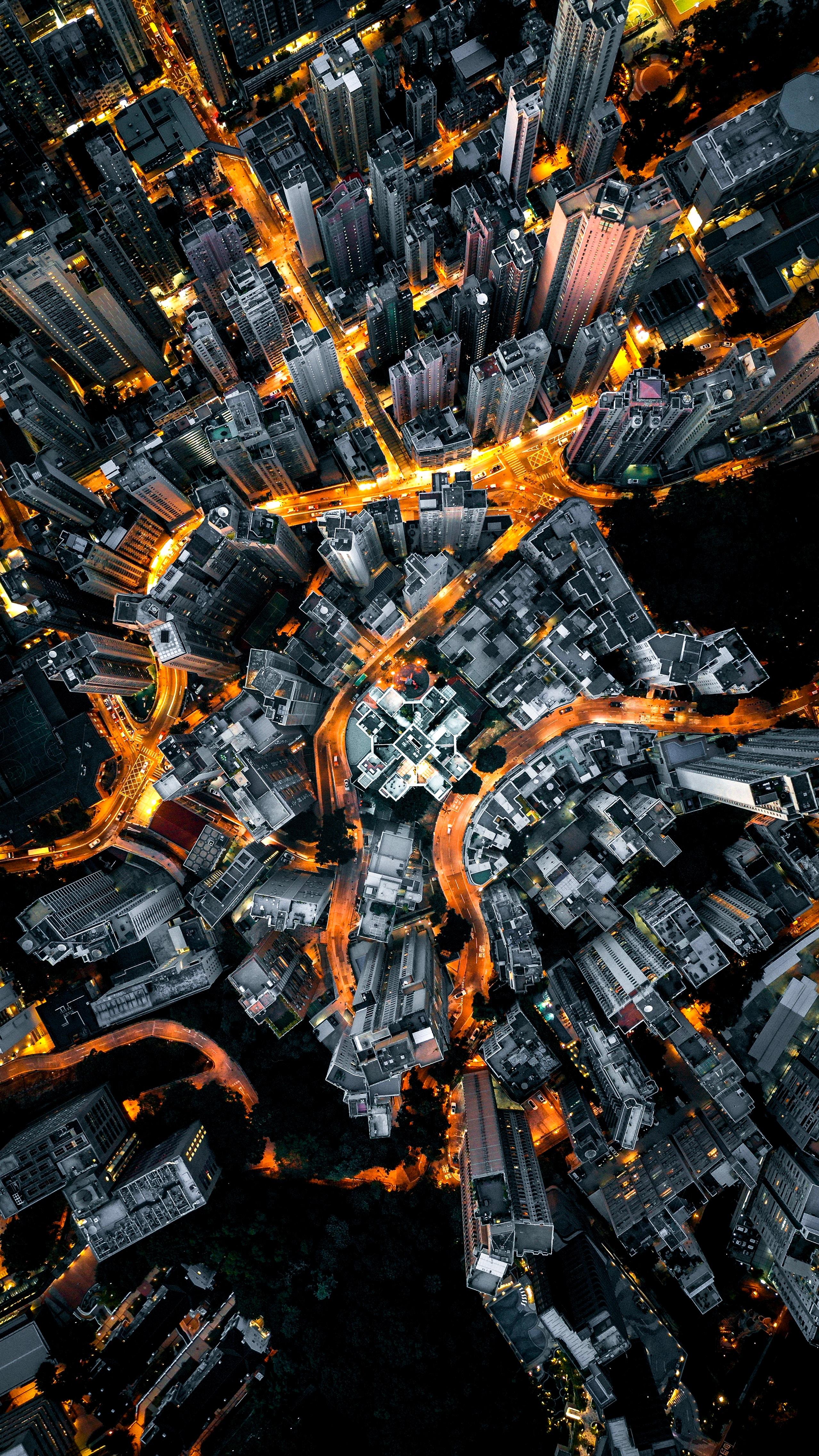 124842 Hintergrundbild herunterladen Roads, Städte, Stadt, Gebäude, Blick Von Oben, Megapolis, Megalopolis - Bildschirmschoner und Bilder kostenlos