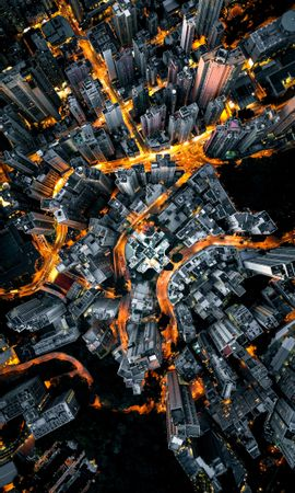 124842 Screensavers and Wallpapers Roads for phone. Download City, View From Above, Building, Roads, Megapolis, Megalopolis, Cities pictures for free