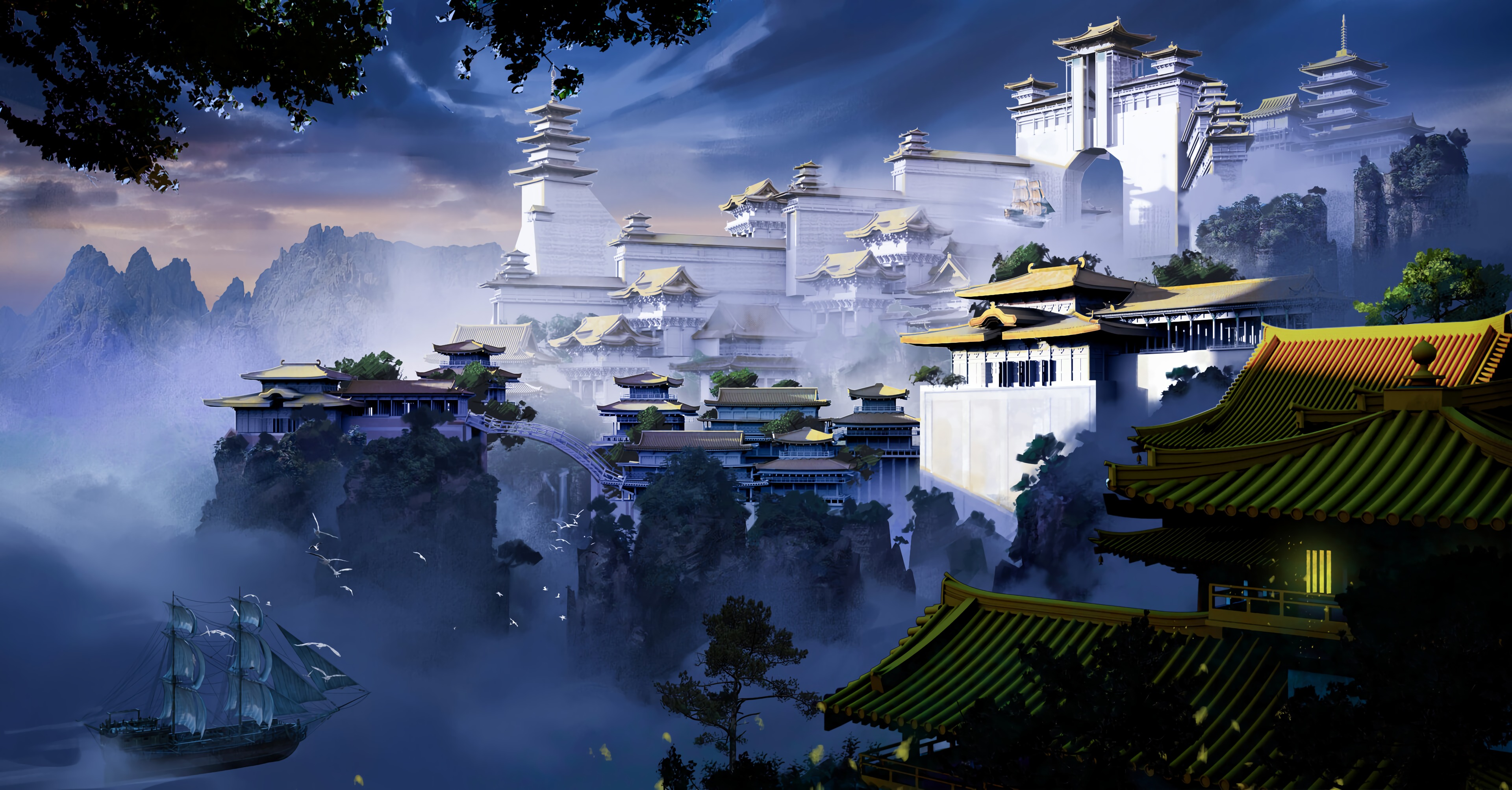 140163 免費下載壁紙 宝塔, 寺庙, 神殿, 锁, 城堡, 多雾路段, 雾, 艺术 屏保和圖片