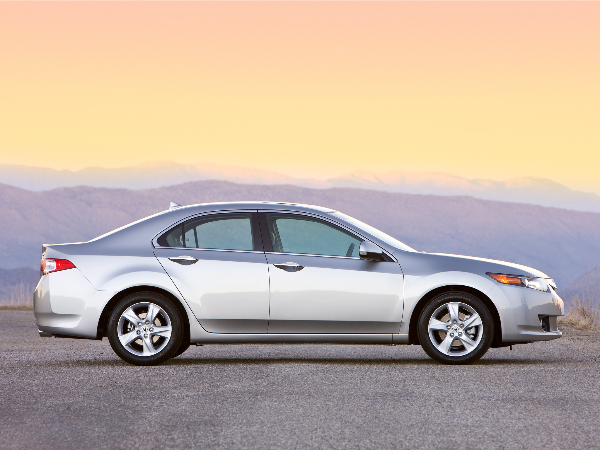 107014 download wallpaper Cars, Acura, Akura, 2008, Silver Metallic, Side View, Style, Auto, Tsx, Sunset, Asphalt, Mountains screensavers and pictures for free