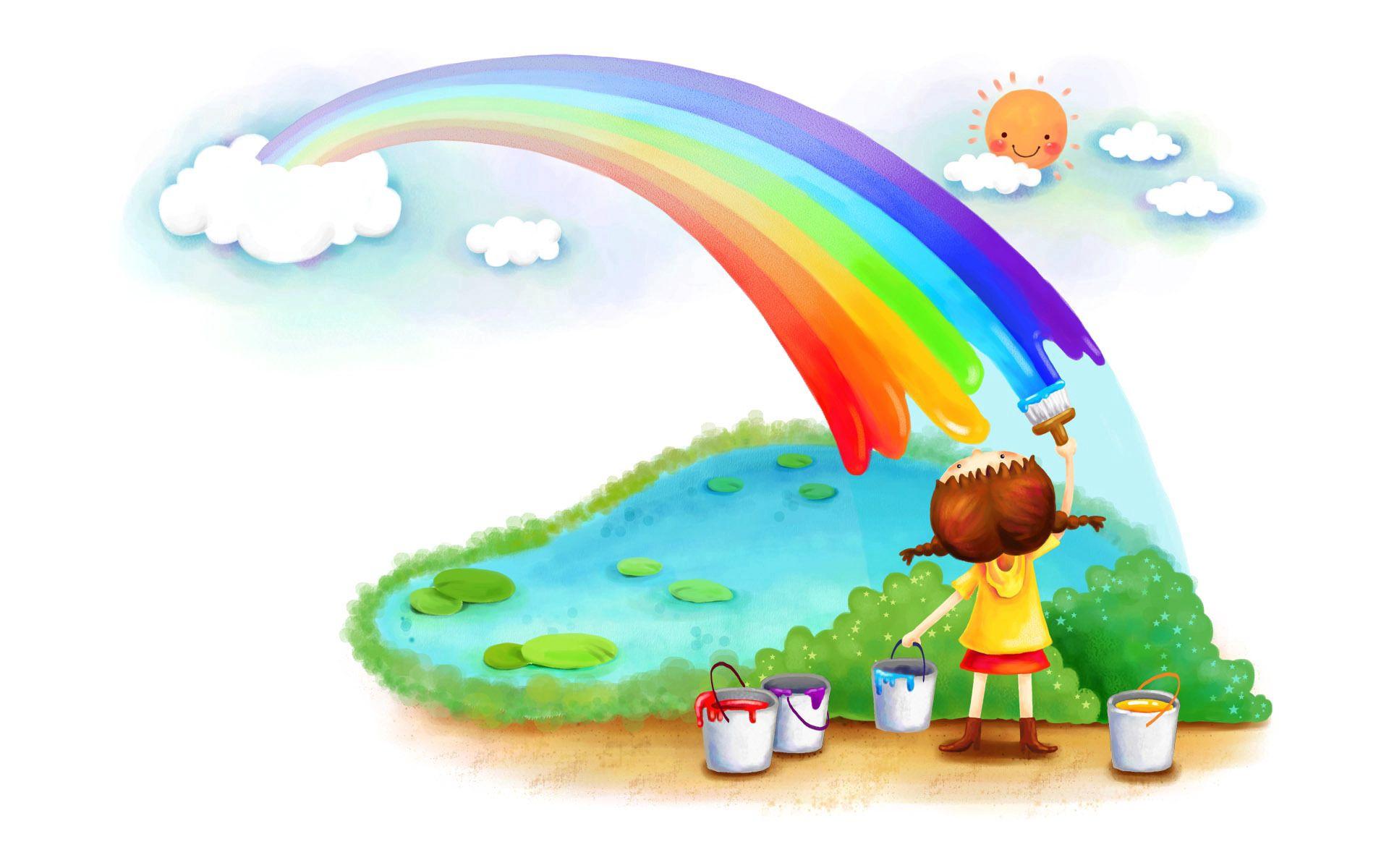 119941 скачать обои Радуга, Разное, Краски, Девочка - заставки и картинки бесплатно