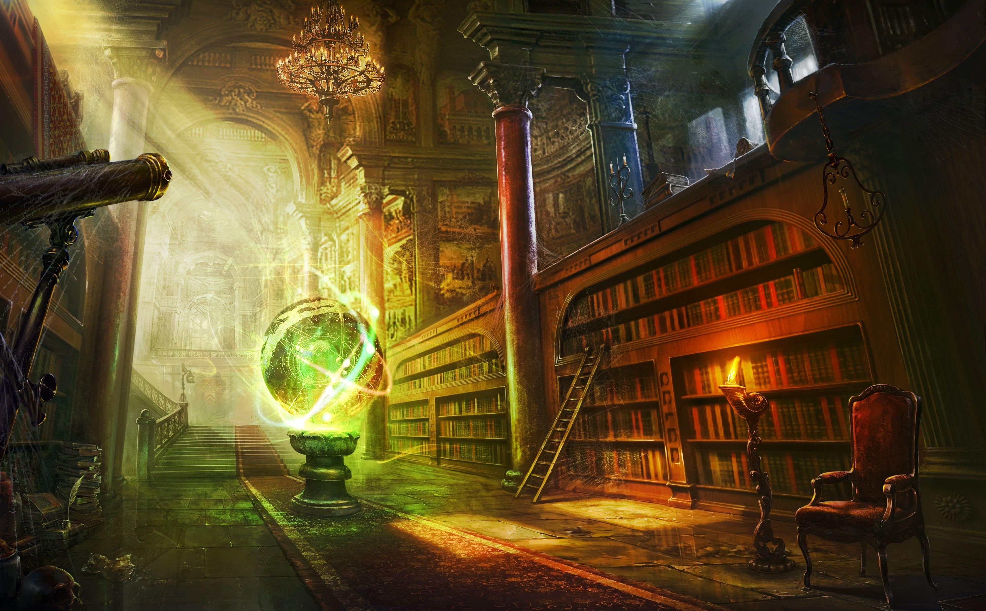 155203 download wallpaper Fantasy, Magic, Ball, Library, Columns, Column, Lock screensavers and pictures for free