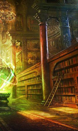 155203壁紙のダウンロードファンタジー, マジック, 玉, 球, 図書館, 列, コラム, ロック, 錠-スクリーンセーバーと写真を無料で