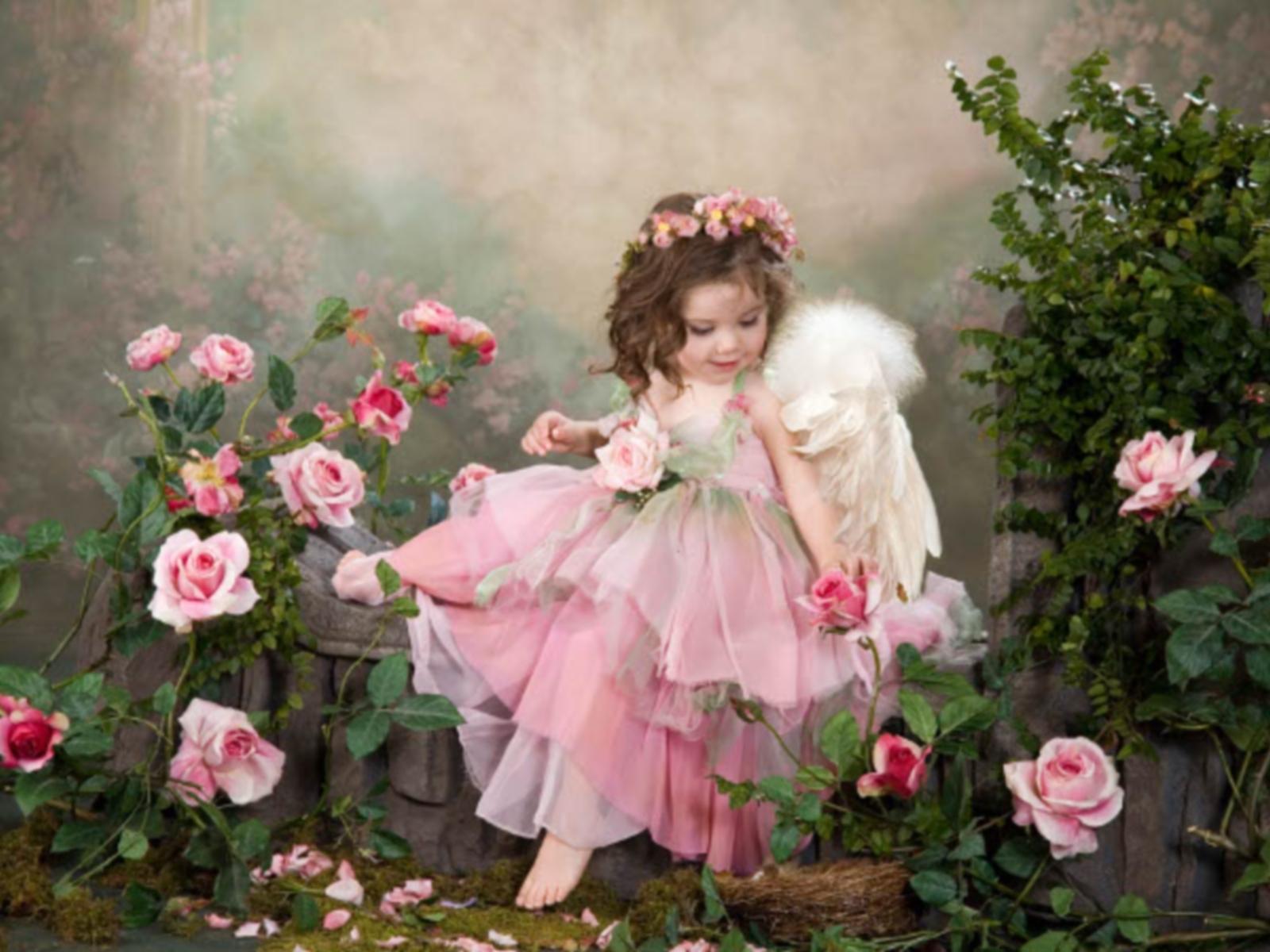 1324 Hintergrundbild herunterladen Menschen, Blumen, Kinder, Fotokunst, Engel - Bildschirmschoner und Bilder kostenlos
