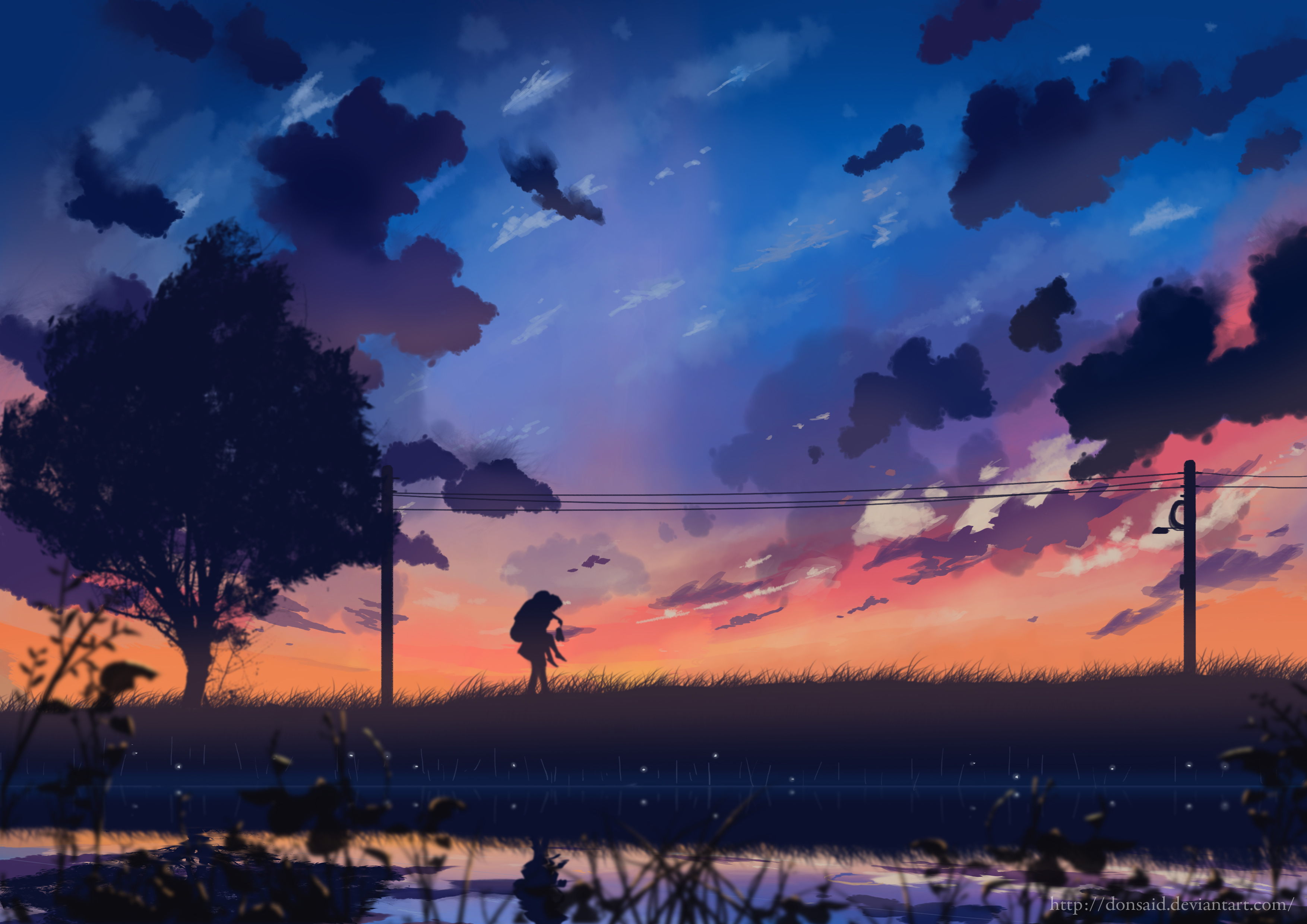114848 Screensavers and Wallpapers Couple for phone. Download Art, Night, Clouds, Couple, Pair, Silhouettes, Wires, Wire pictures for free