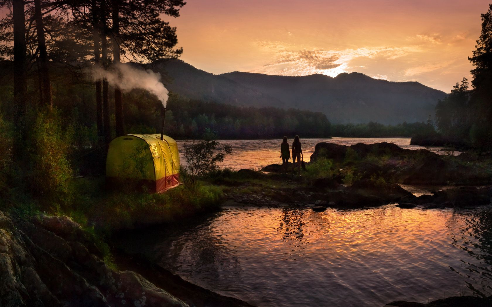 59184 download wallpaper Nature, Tent, Forest, Lake, Girls, Silhouettes, Trumpet, Pipe, Evening, Mountains screensavers and pictures for free