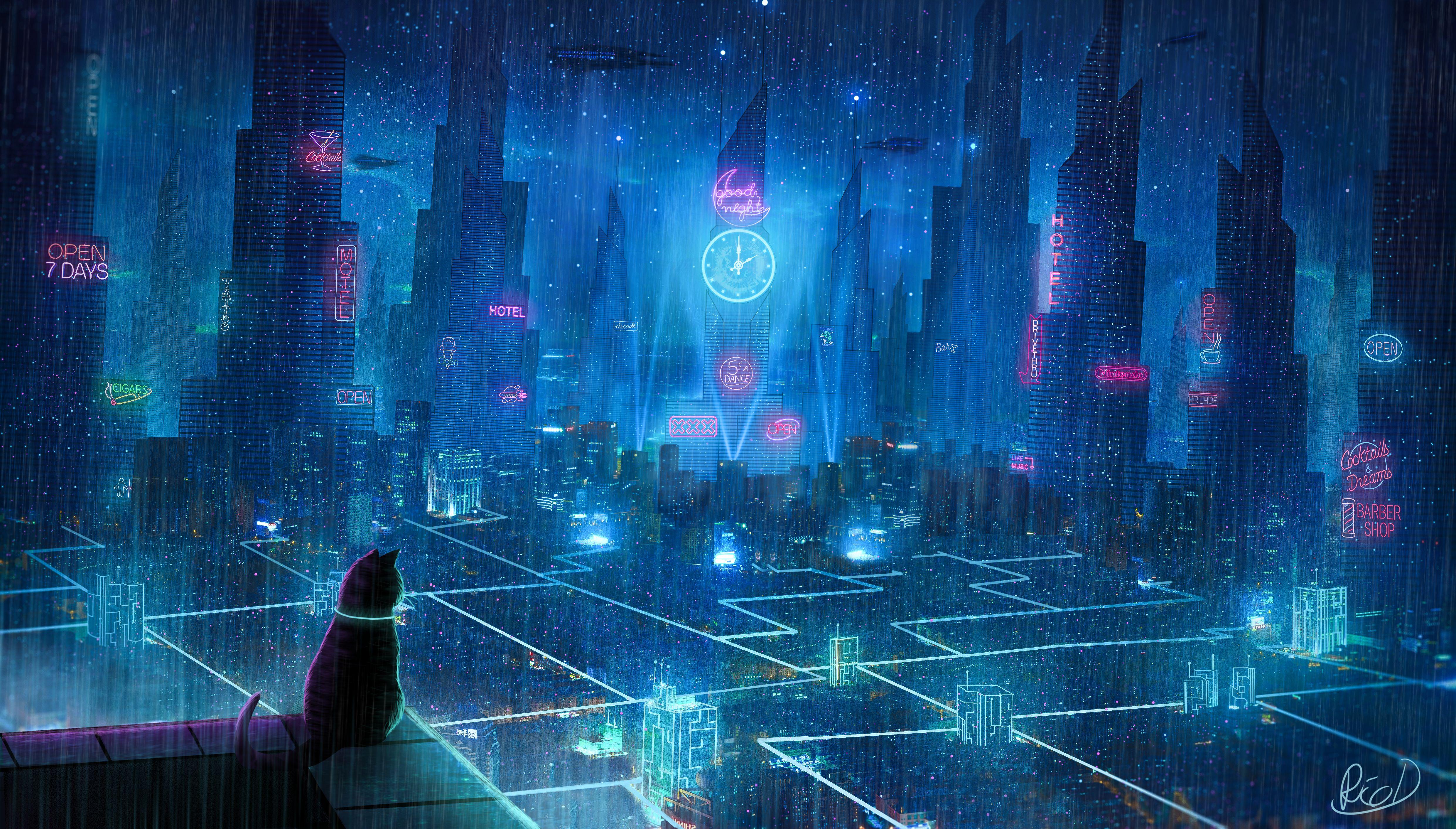 127071 Hintergrundbild herunterladen Kunst, Stadt, Der Kater, Katze, Cyberpunk, Megapolis, Megalopolis, Dach, Zukunft, Neonlichter - Bildschirmschoner und Bilder kostenlos
