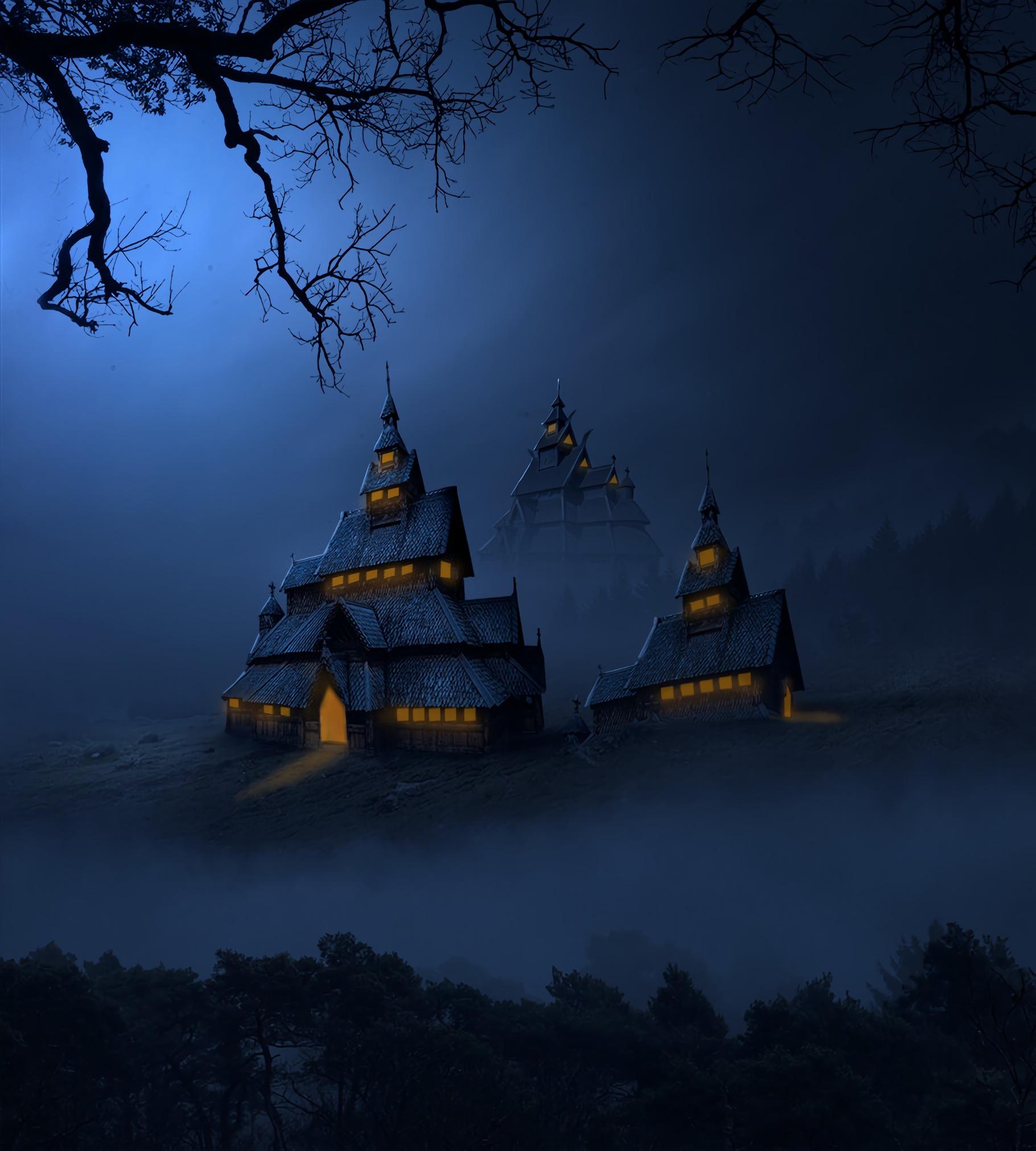 71537 免費下載壁紙 黑暗的, 黑暗, 寺庙, 神殿, 夜, 多雾路段, 雾, 艺术, 建造, 建筑物 屏保和圖片
