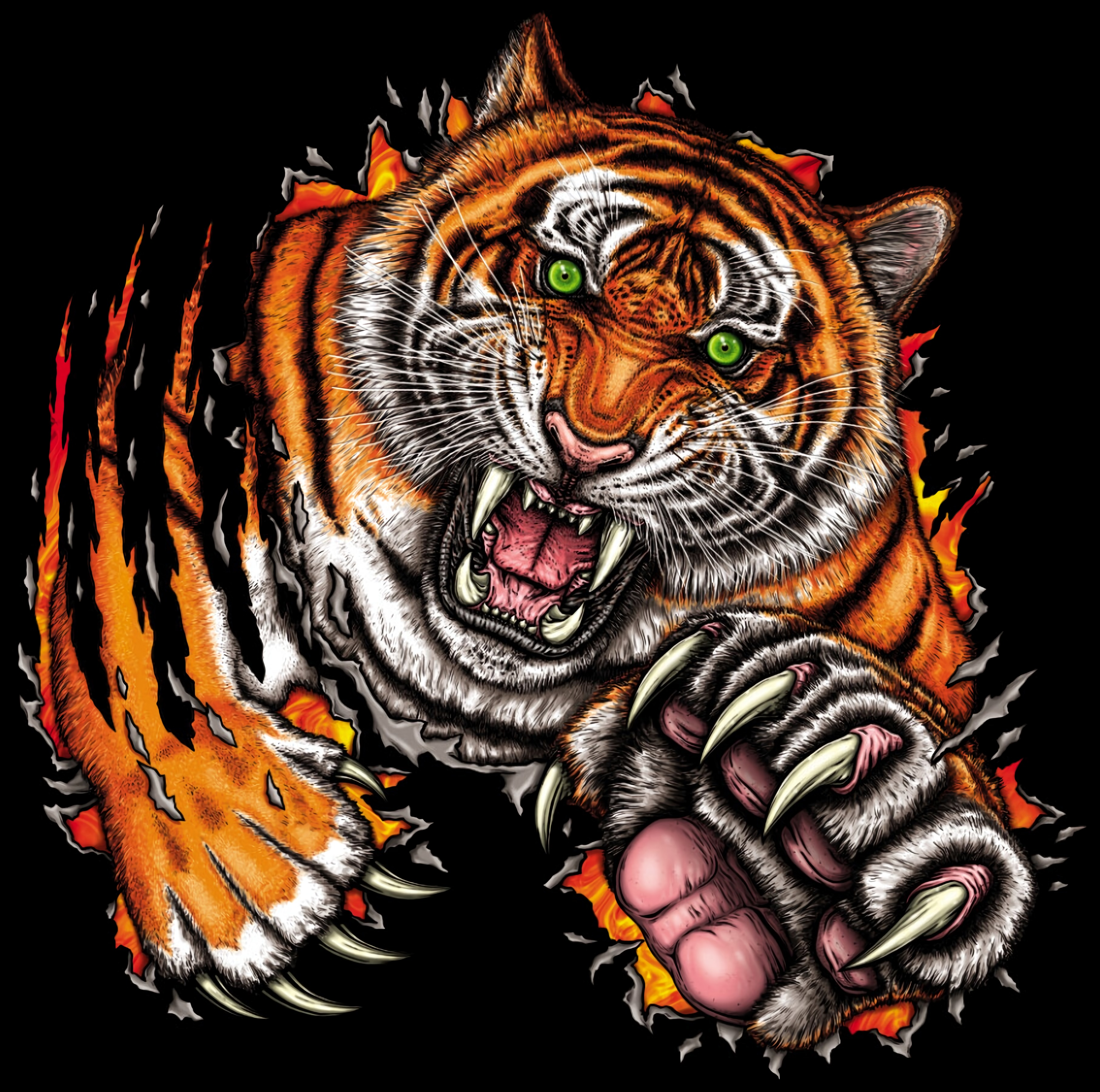 89428 скачать обои Тигр, Оскал, Прыжок, Хищник, Арт - заставки и картинки бесплатно