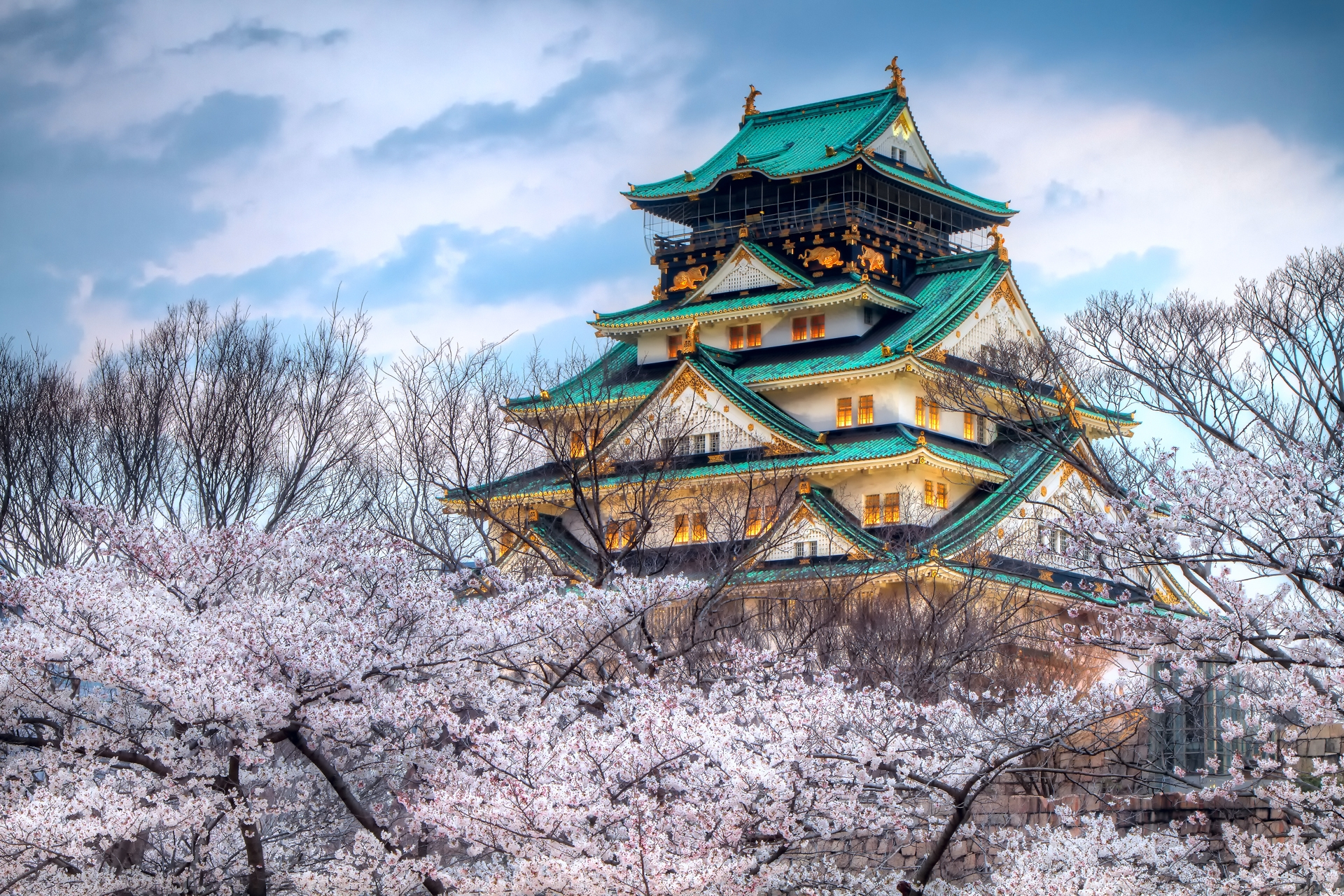 117211 Screensavers and Wallpapers Sakura for phone. Download Sakura, Cities, Sky, City, Color, Japan, Temple, Spring pictures for free