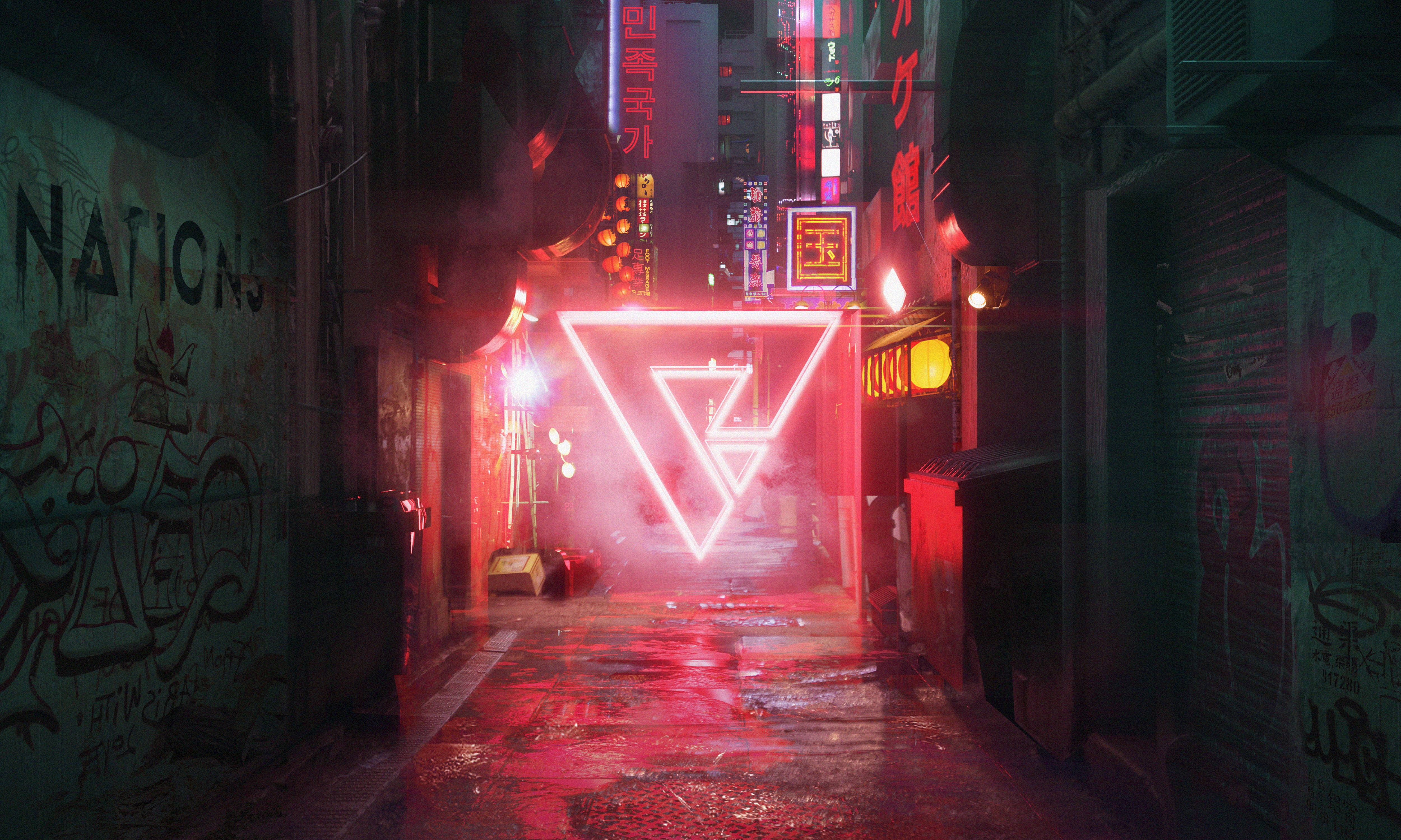 54996 download wallpaper Neon, Art, Cyberpunk, Street, Triangle screensavers and pictures for free