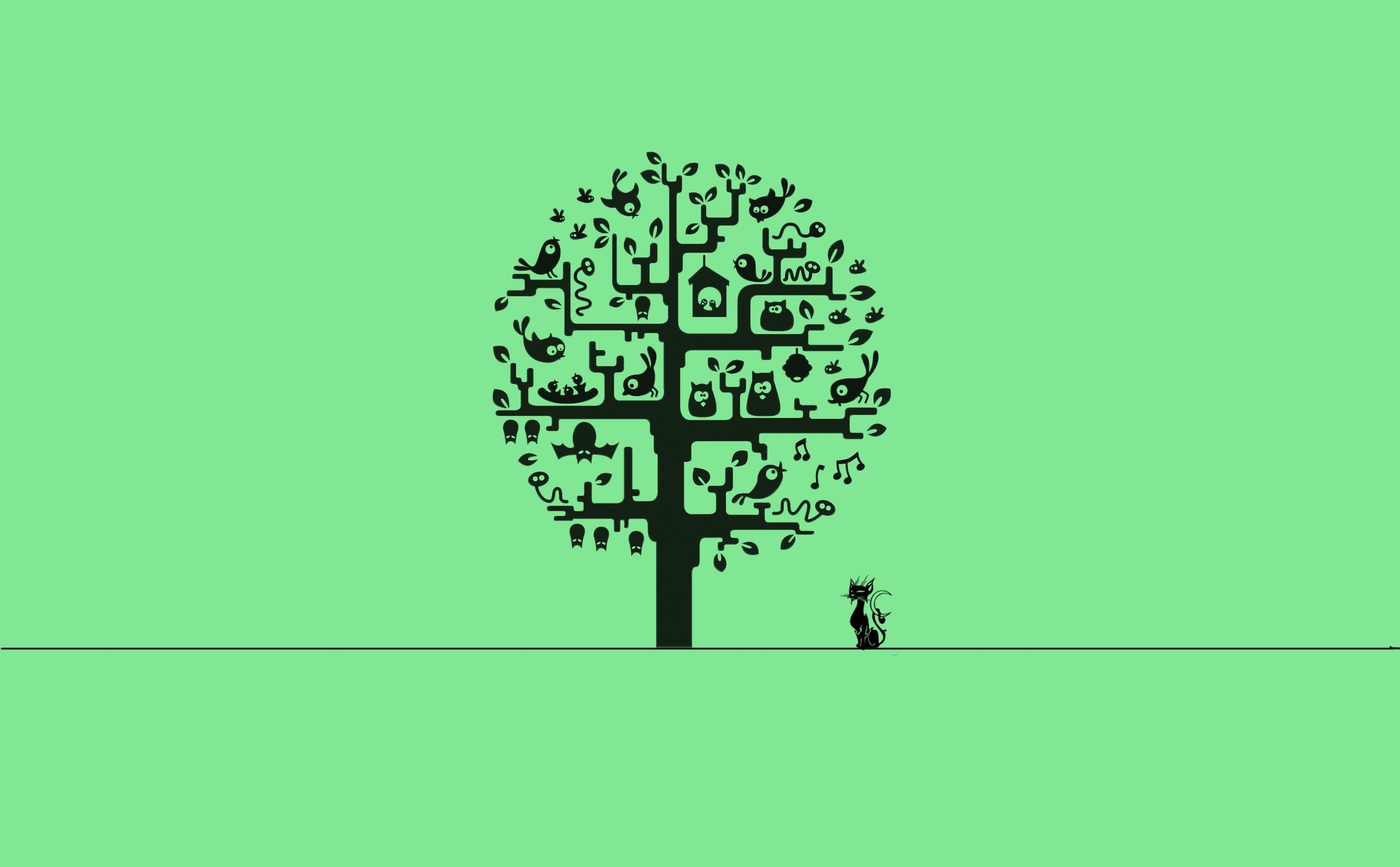 90294 Screensavers and Wallpapers Tree for phone. Download Minimalism, Wood, Cat, Tree pictures for free