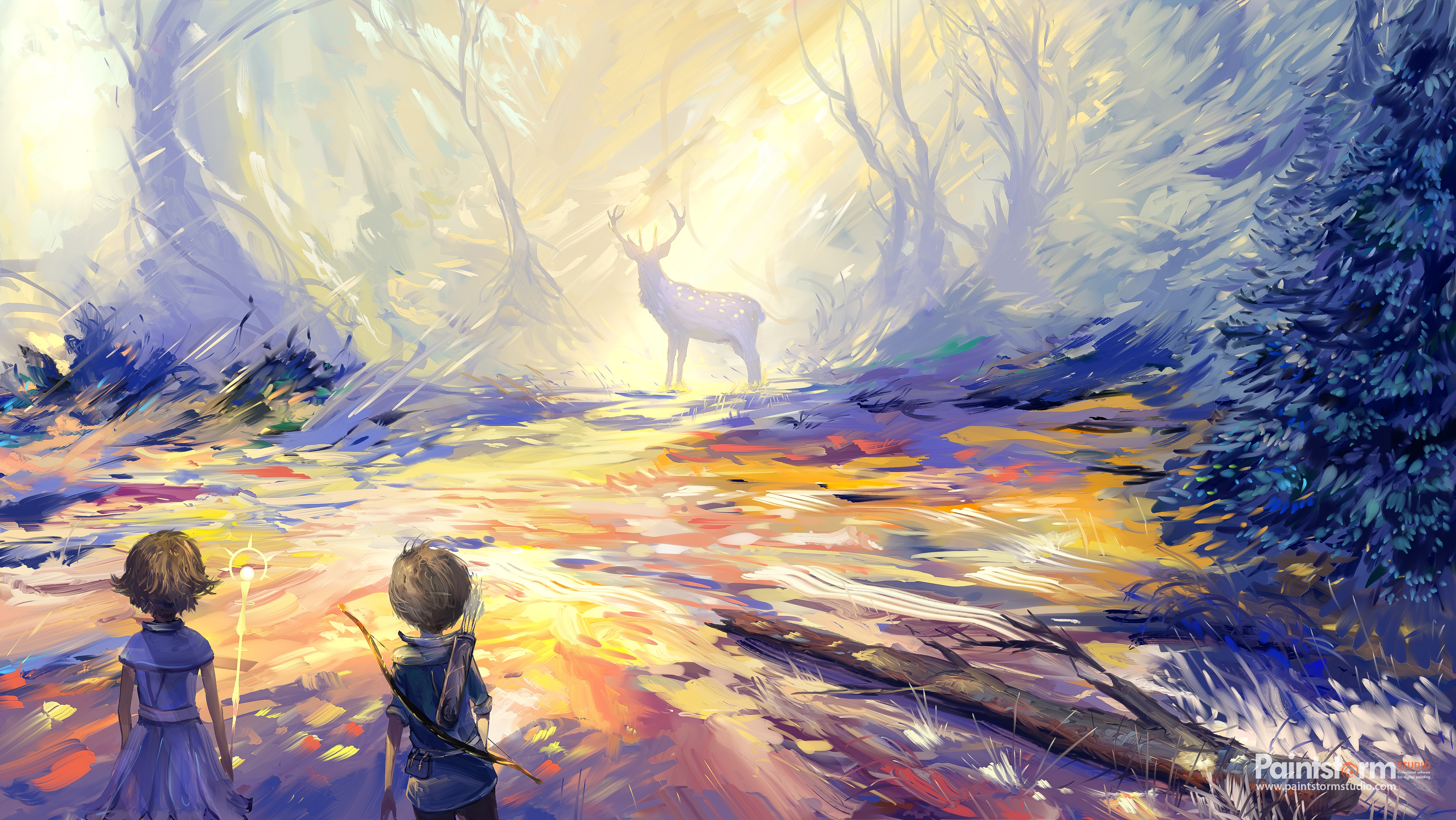141916 download wallpaper Child, Deer, Art, Hunting, Hunt screensavers and pictures for free