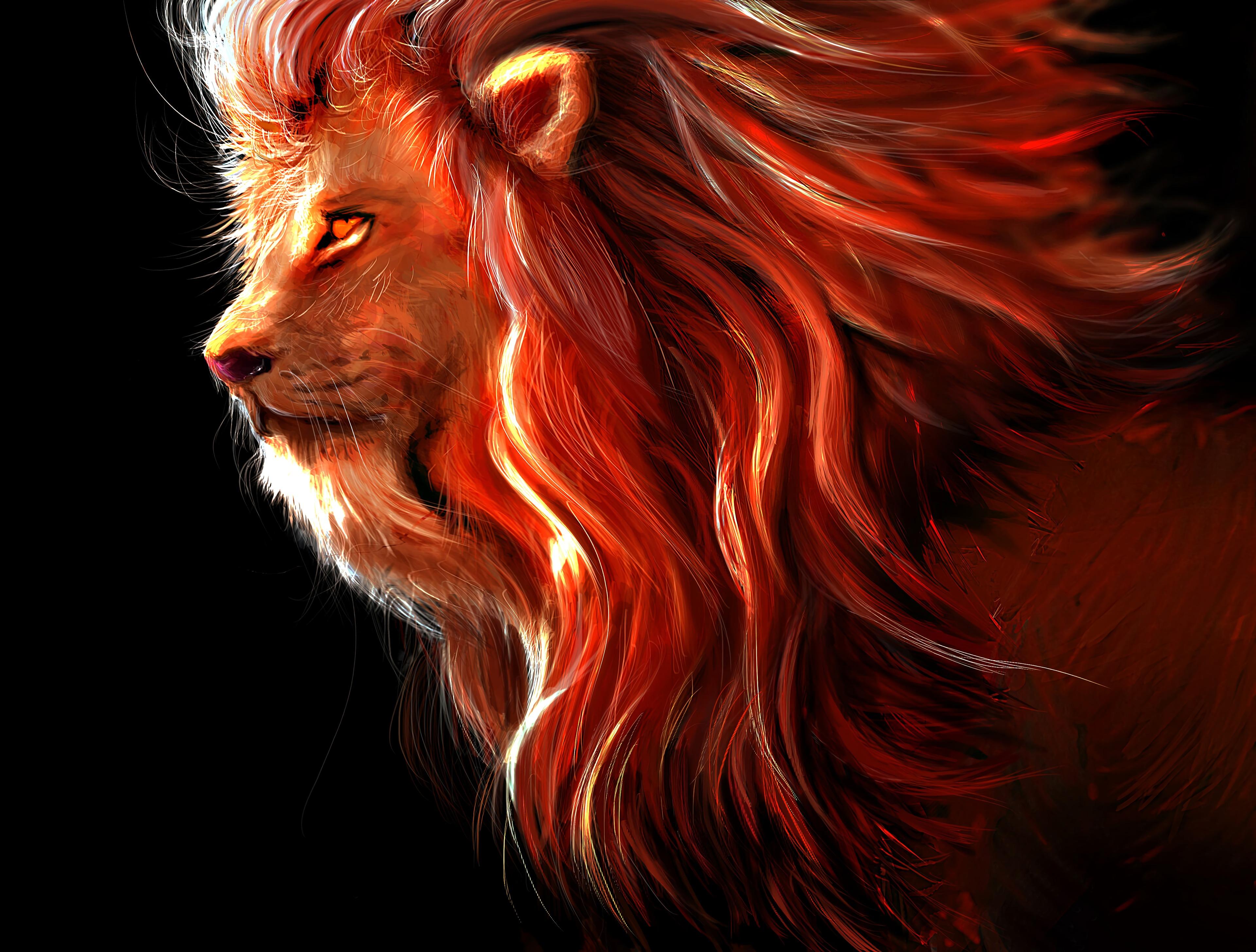 78147 Hintergrundbild herunterladen Kunst, Ein Löwe, Löwe, Raubtier, Predator, Große Katze, Big Cat, König Der Bestien - Bildschirmschoner und Bilder kostenlos