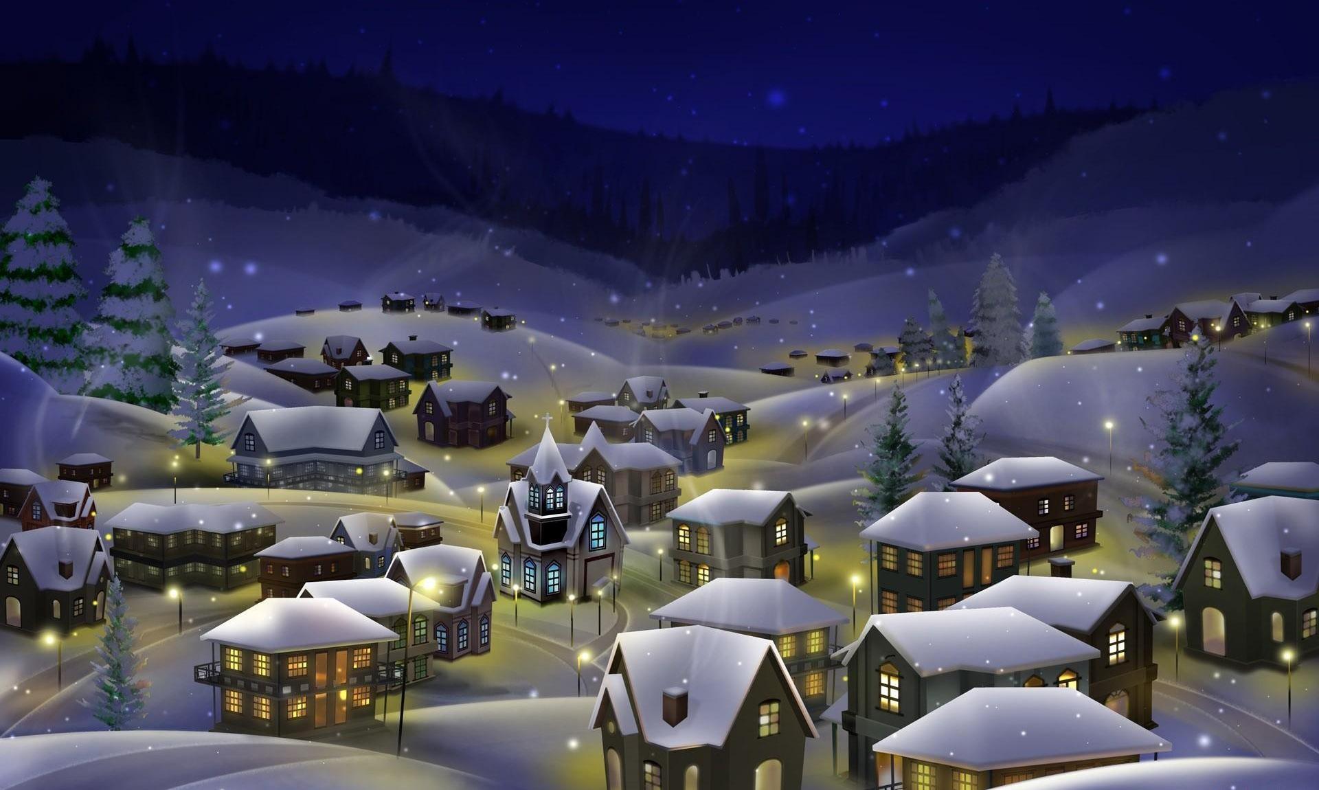 90672 скачать обои Снег, Рождество, Праздники, Ночь, Город, Праздник - заставки и картинки бесплатно