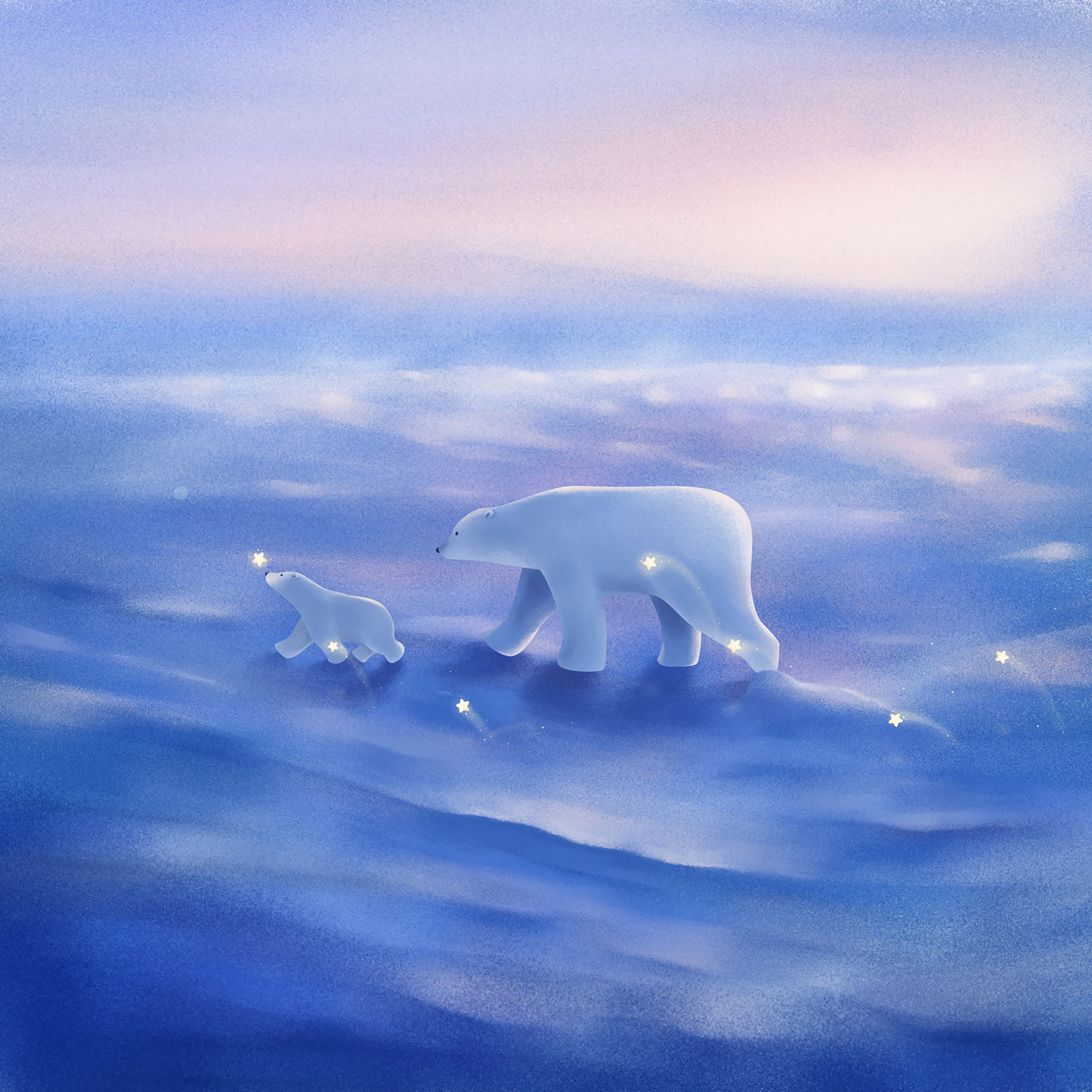108619 download wallpaper White Bears, Polar Bears, Family, Young, Joey, Art, Stroll screensavers and pictures for free