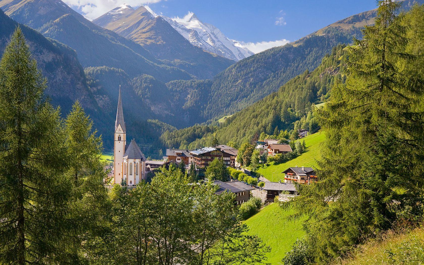115656 скачать обои Природа, Дома, Лето, Лес, Австрия, Деревня, Низина, Строения - заставки и картинки бесплатно