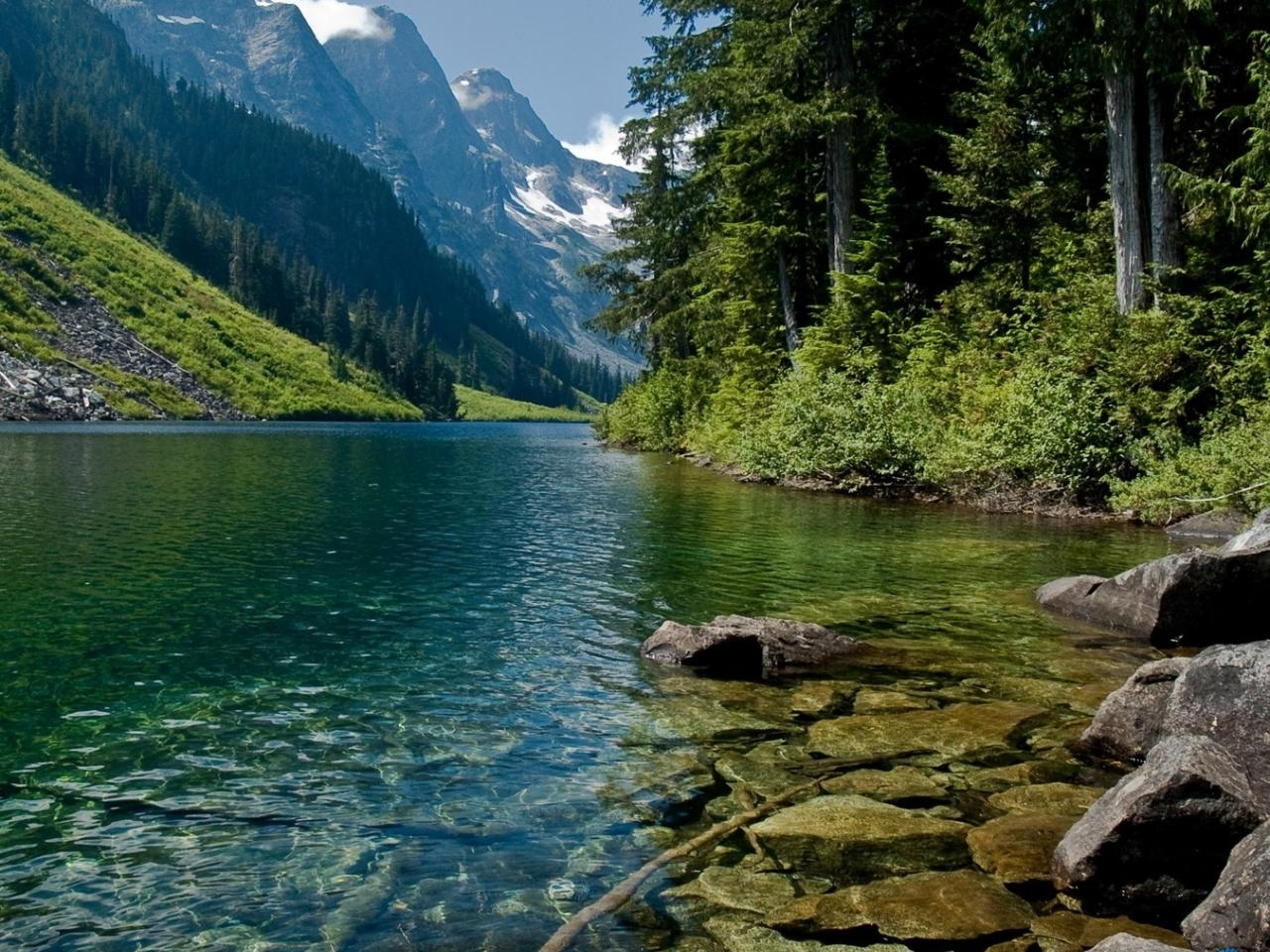 26163 скачать обои Пейзаж, Река, Деревья, Горы - заставки и картинки бесплатно