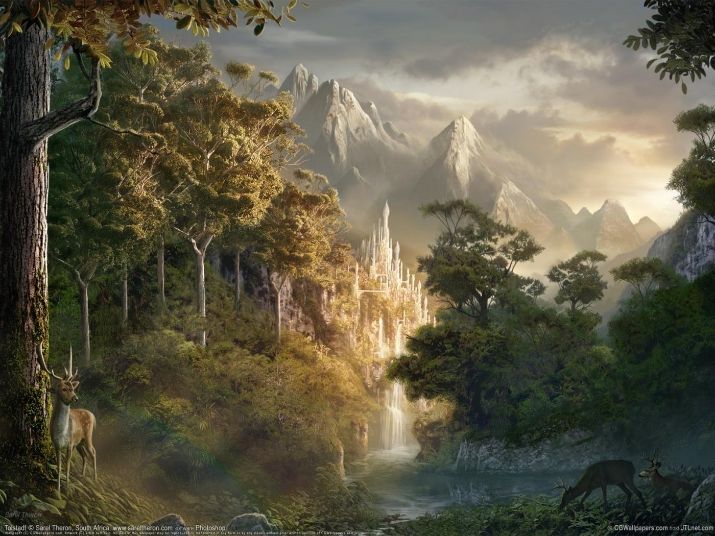 24312 скачать обои Горы, Фэнтези, Замки, Пейзаж - заставки и картинки бесплатно