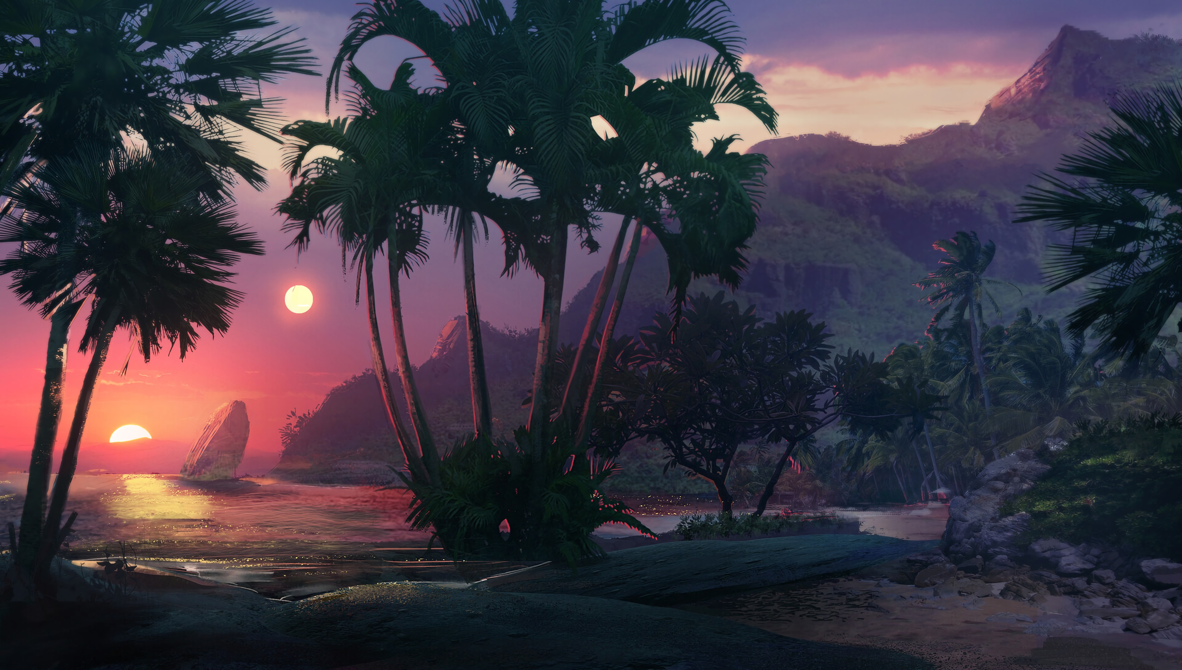 94769 download wallpaper Palms, Sunset, Art, Sea, Beach screensavers and pictures for free
