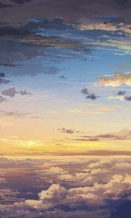 77620 скачать обои Природа, Тучи, Небо, Облака, Арт, Закат, Высота, Пейзаж - заставки и картинки бесплатно