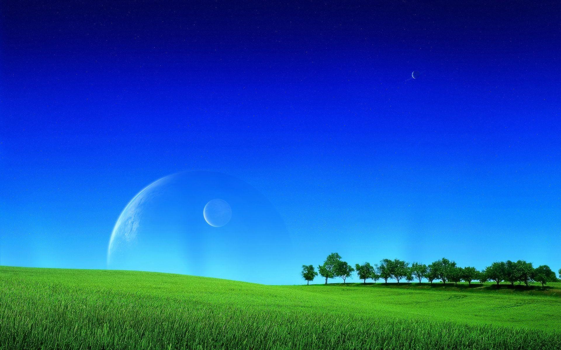57898 скачать обои Космос, Фэнтези, Планеты, Зелень, Газон, Трава, Небо, Поле - заставки и картинки бесплатно